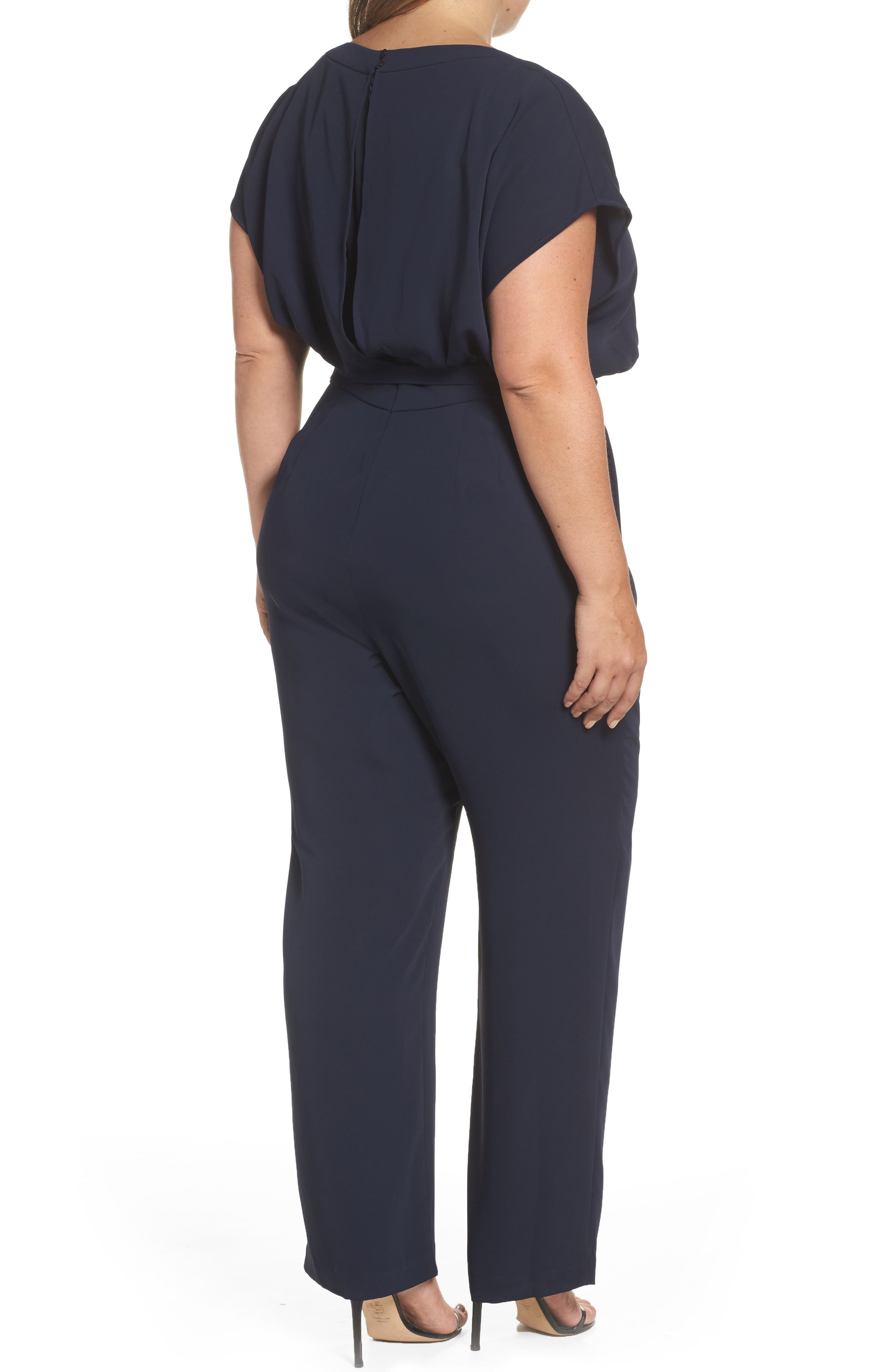 Alternate Image 2  - Eliza J Cap Sleeve Crepe Jumpsuit (Plus Size)