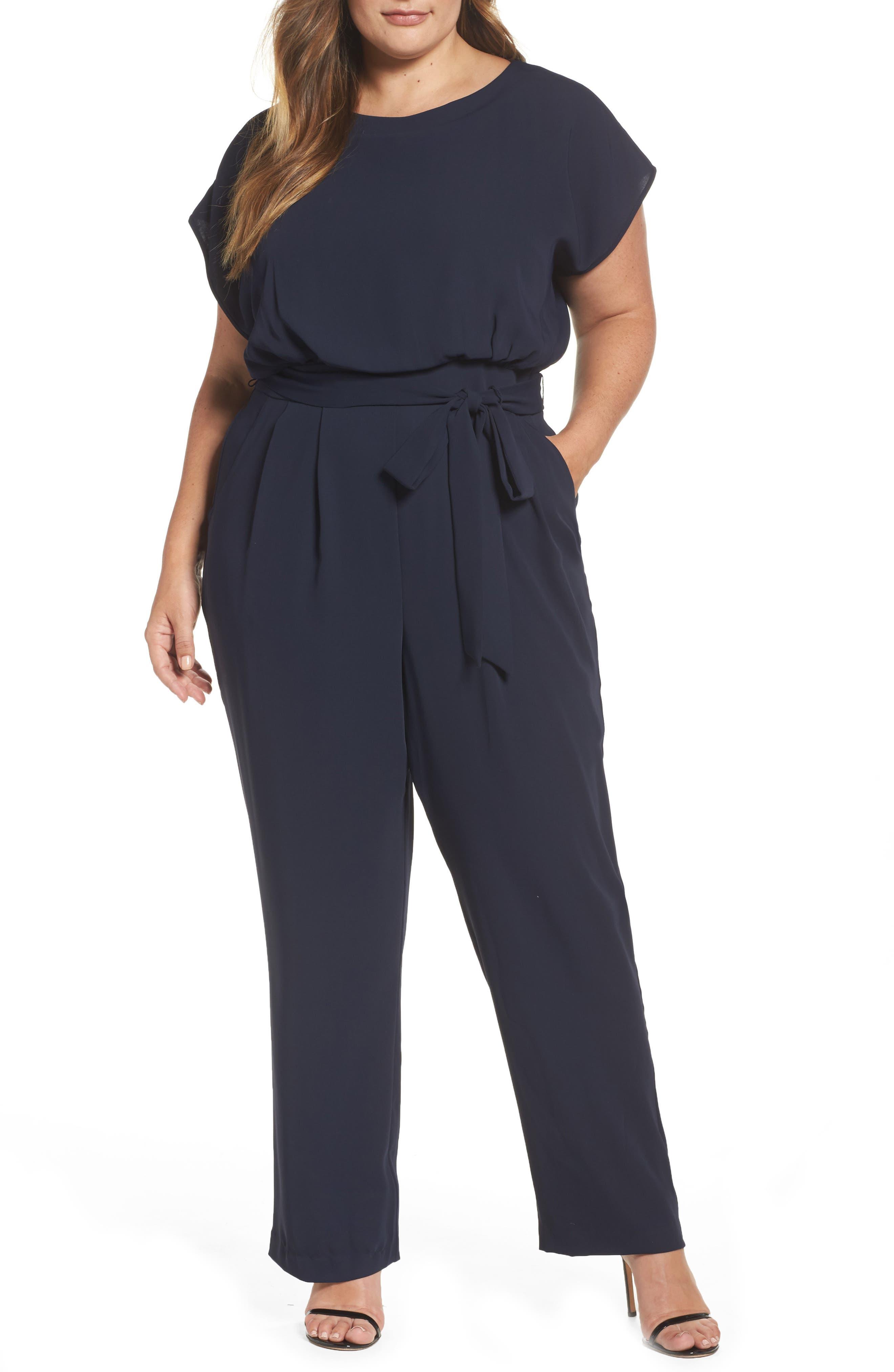 Main Image - Eliza J Cap Sleeve Crepe Jumpsuit (Plus Size)