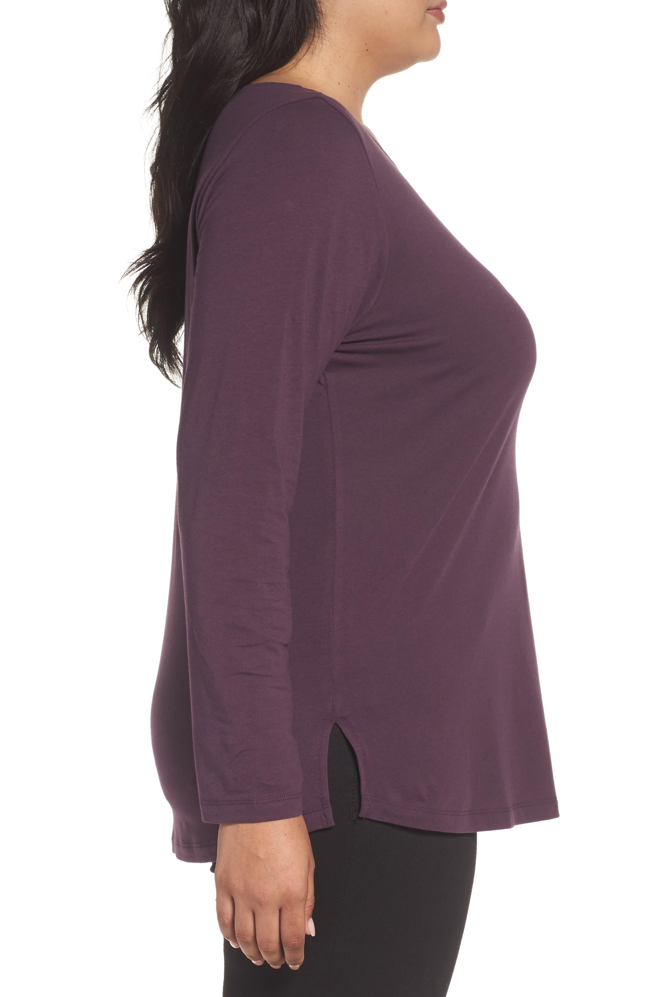 Ballet Neck Long Sleeve Tee,                             Alternate thumbnail 3, color,                             Purple Plum