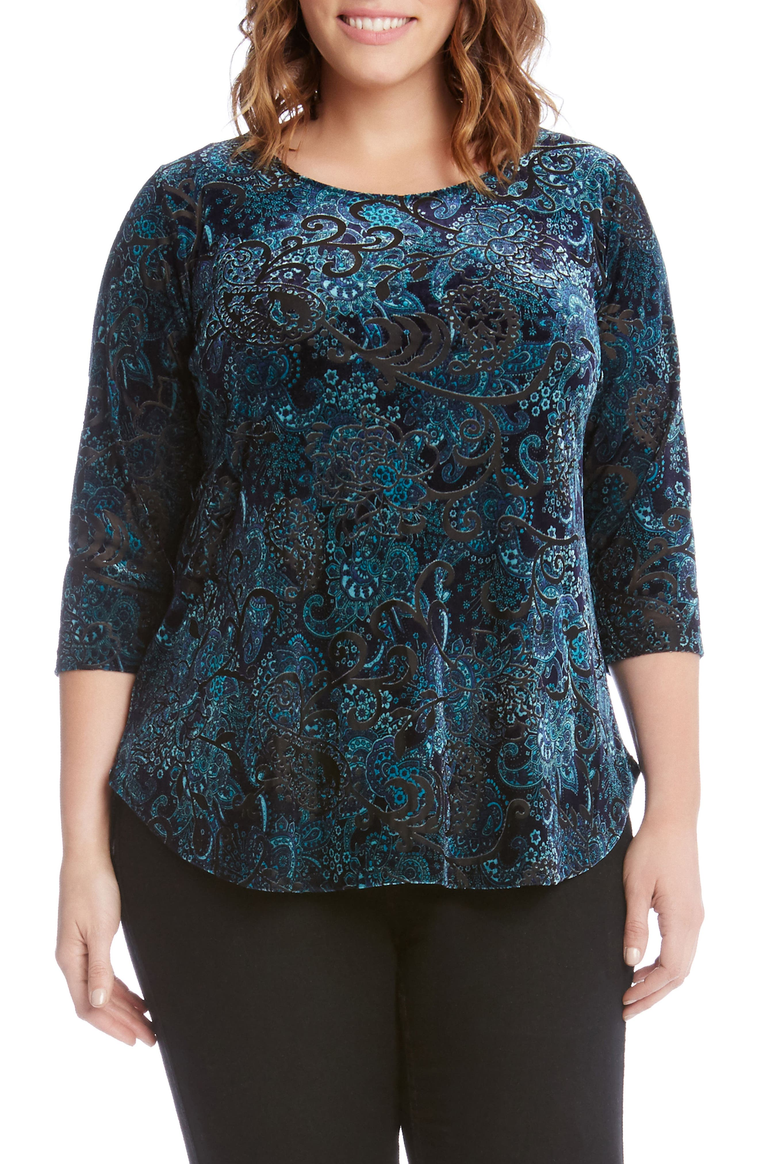 Main Image - Karen Kane Velvet Burnout Top (Plus Size)