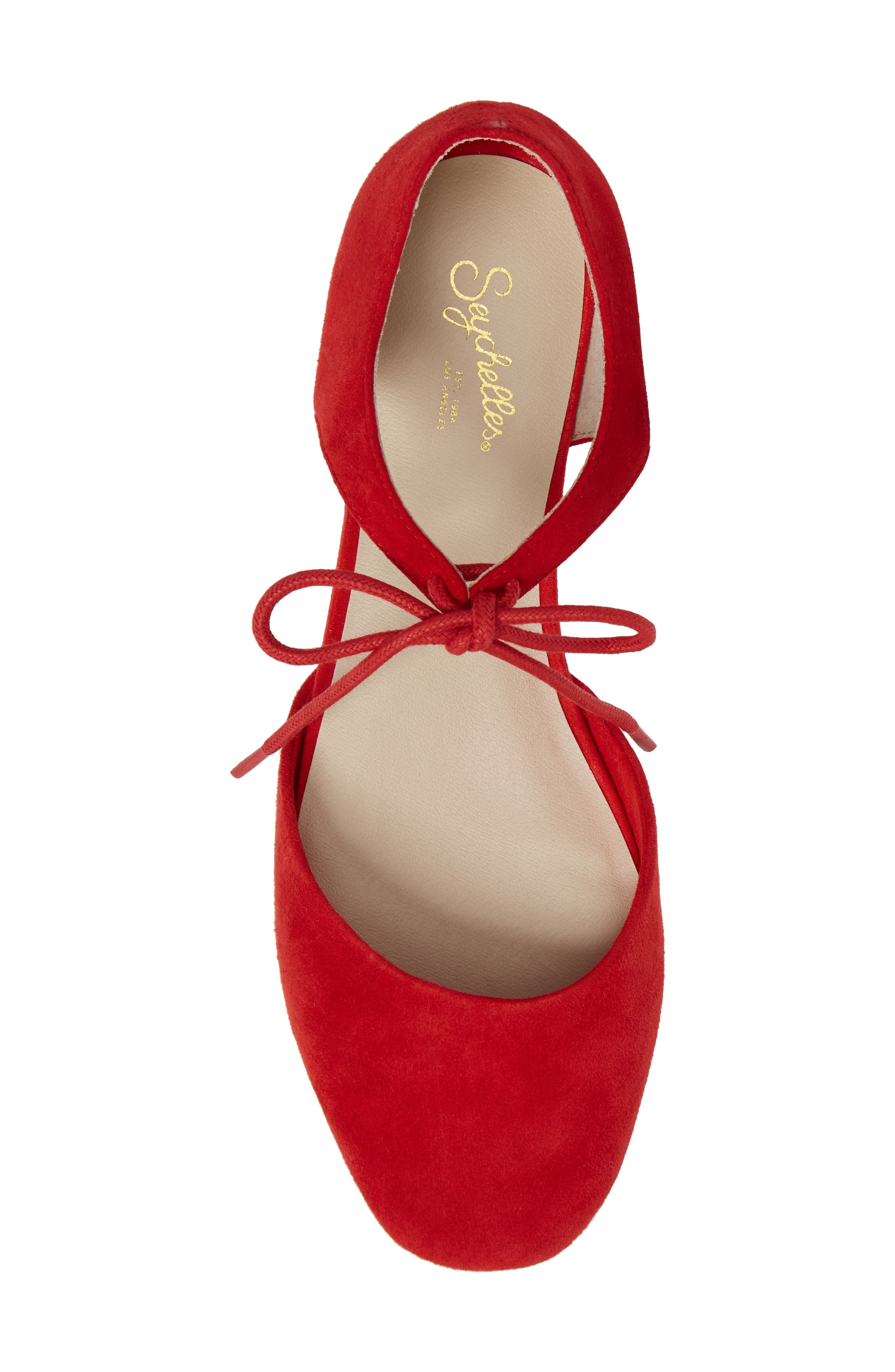 Prospect Tie Front Flat,                             Alternate thumbnail 5, color,                             Red Suede