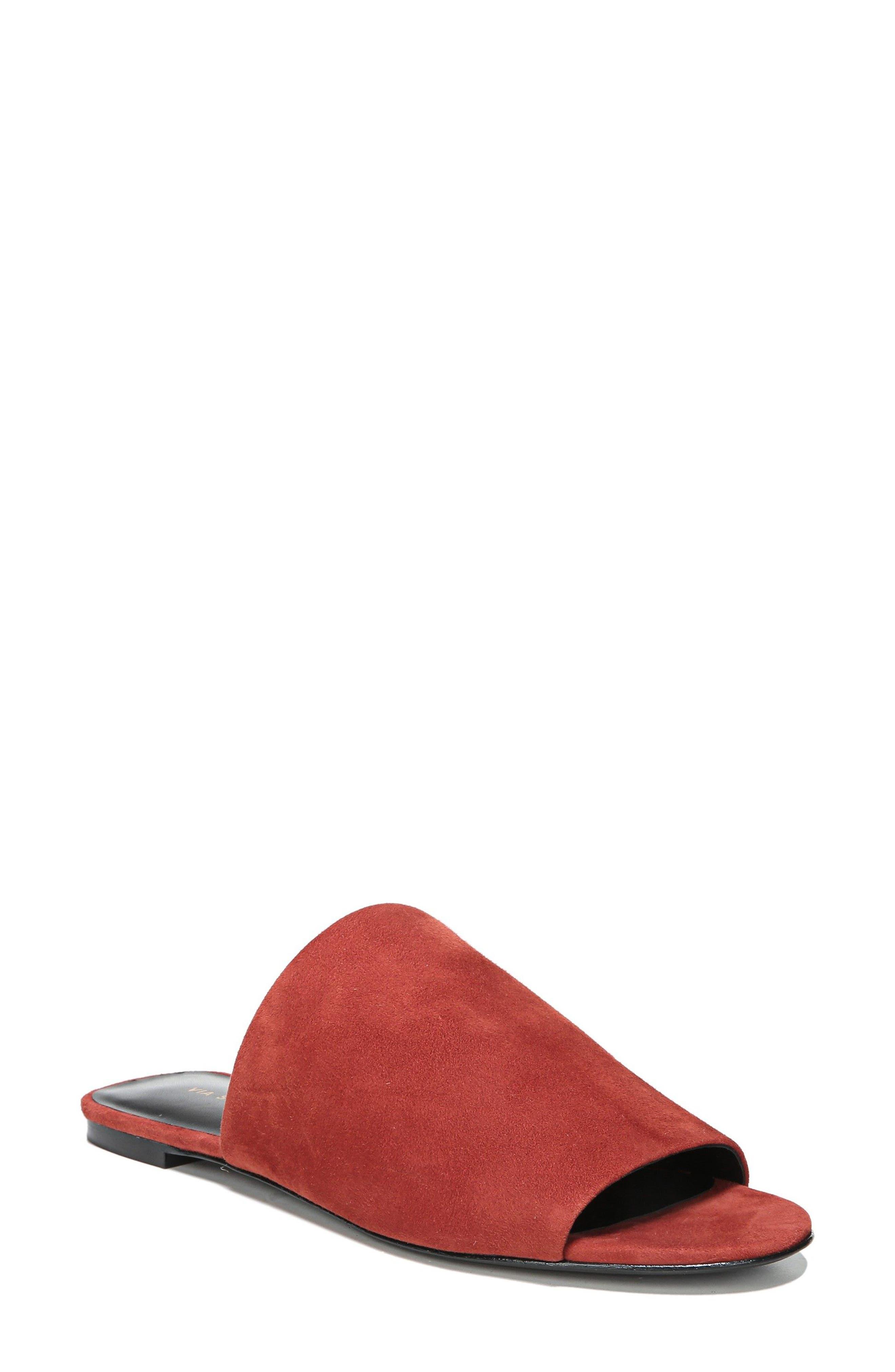 Heather Slide Sandal,                         Main,                         color, Brick Leather