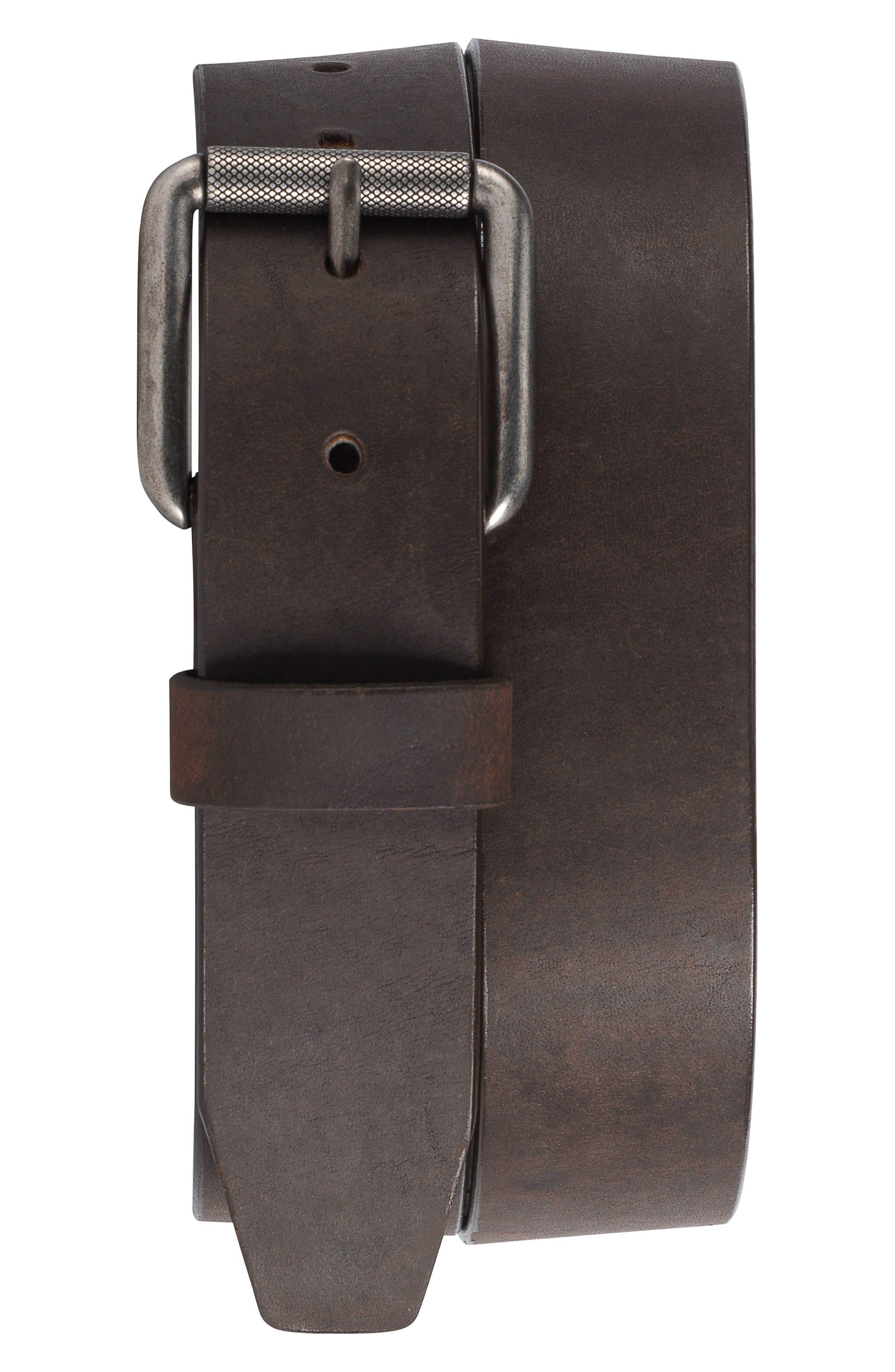 Cash Leather Belt,                             Main thumbnail 1, color,                             Brown