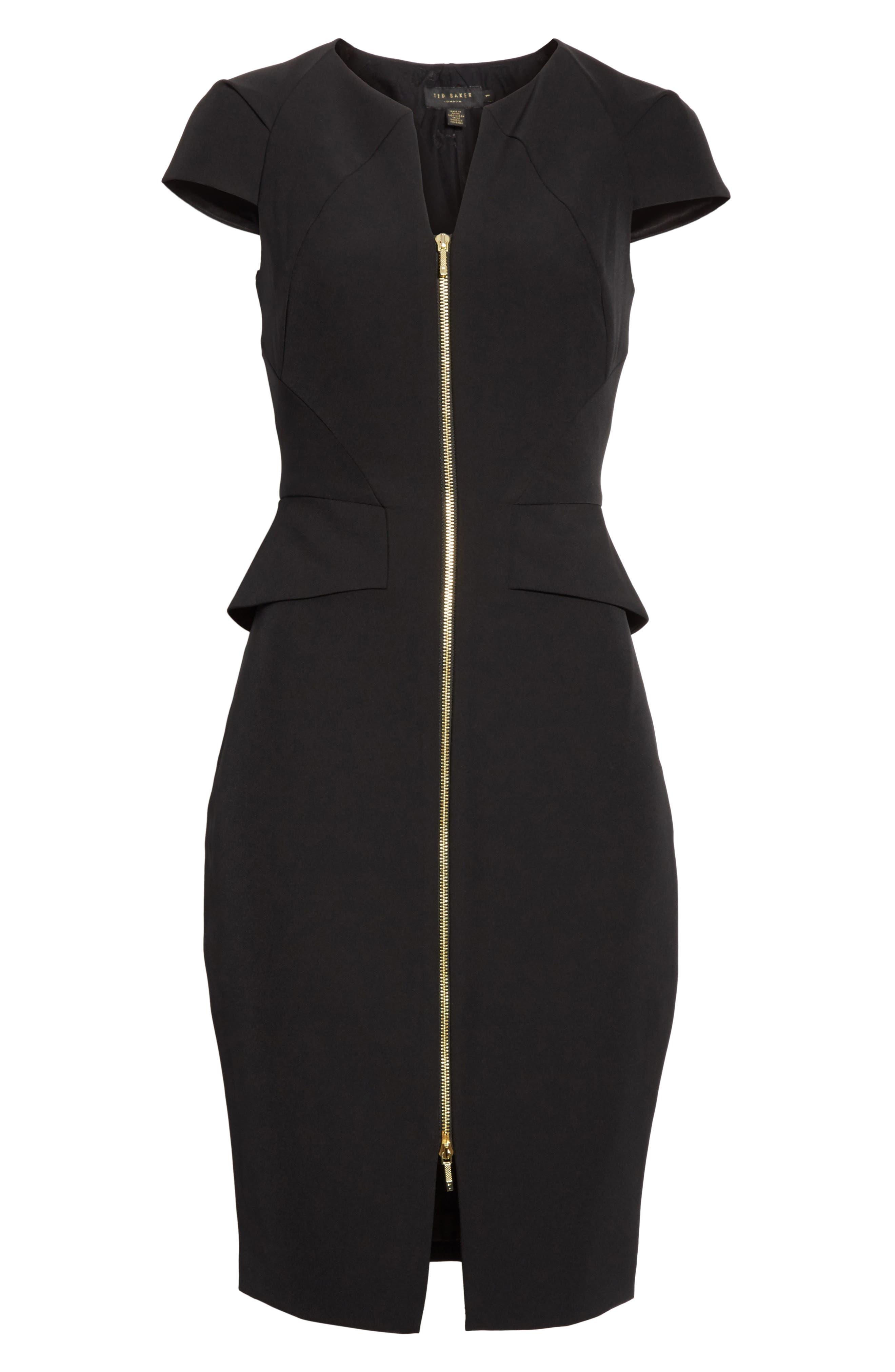 Architectural Pencil Dress,                             Alternate thumbnail 6, color,                             Black