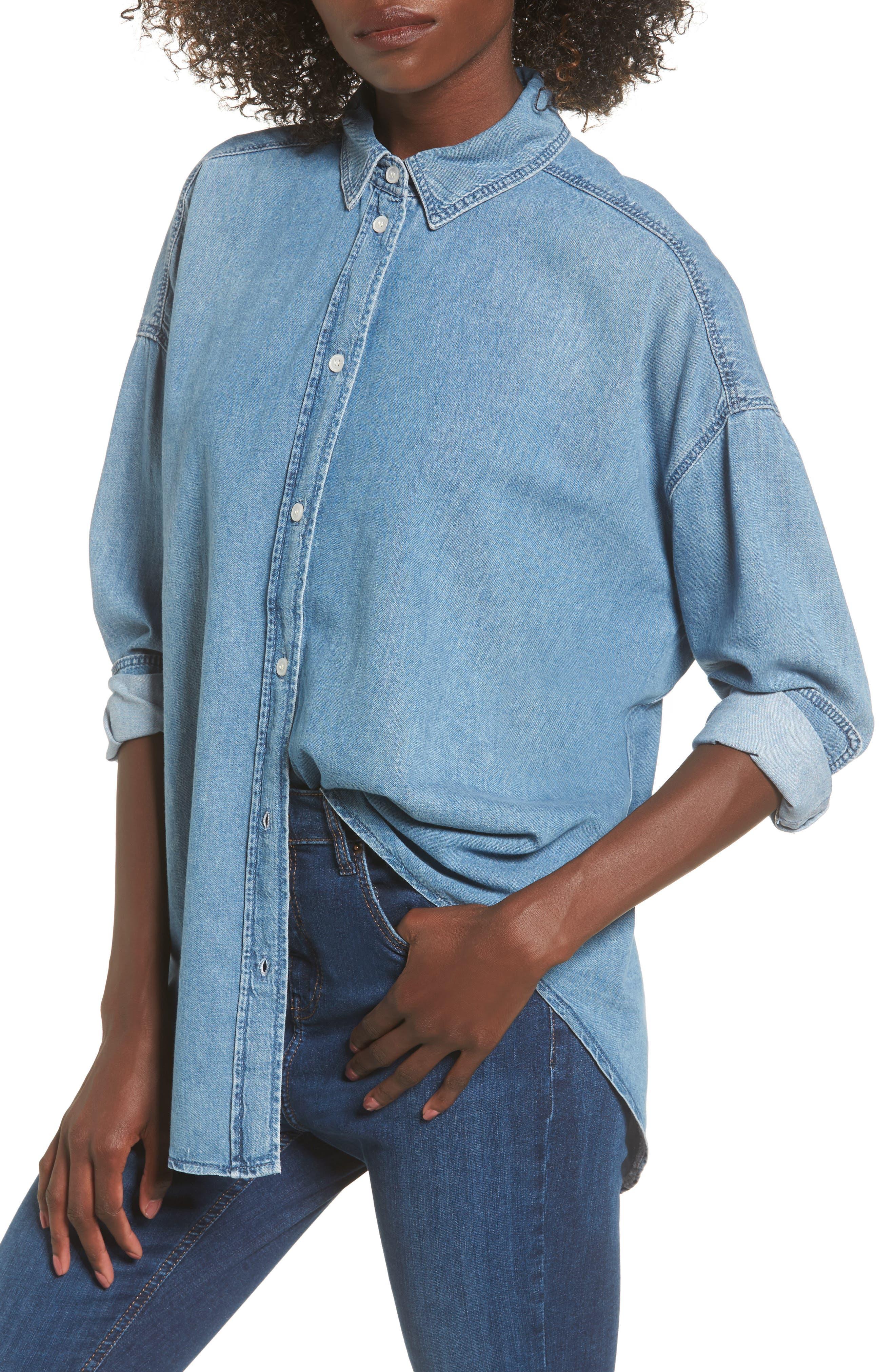 Elton Oversized Denim Shirt,                         Main,                         color, Mid Denim