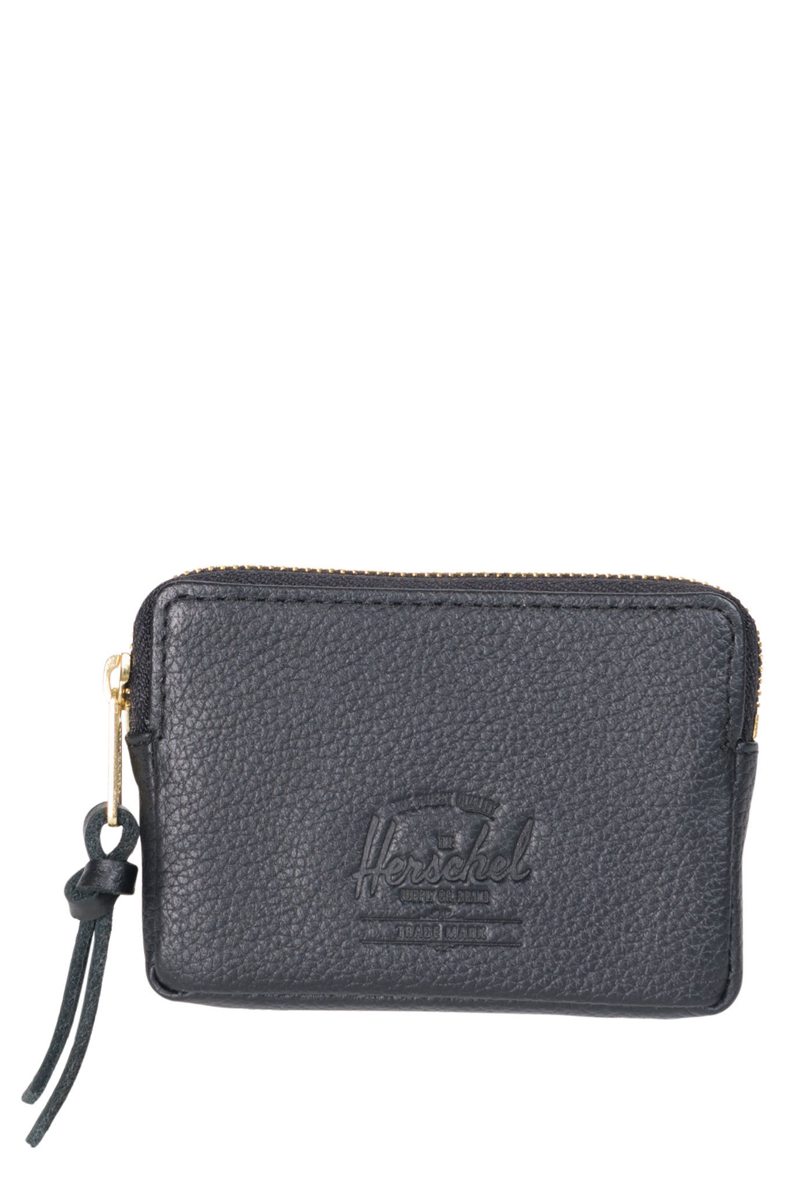 Leather Zip Pouch,                         Main,                         color, Black Pebbled Leather