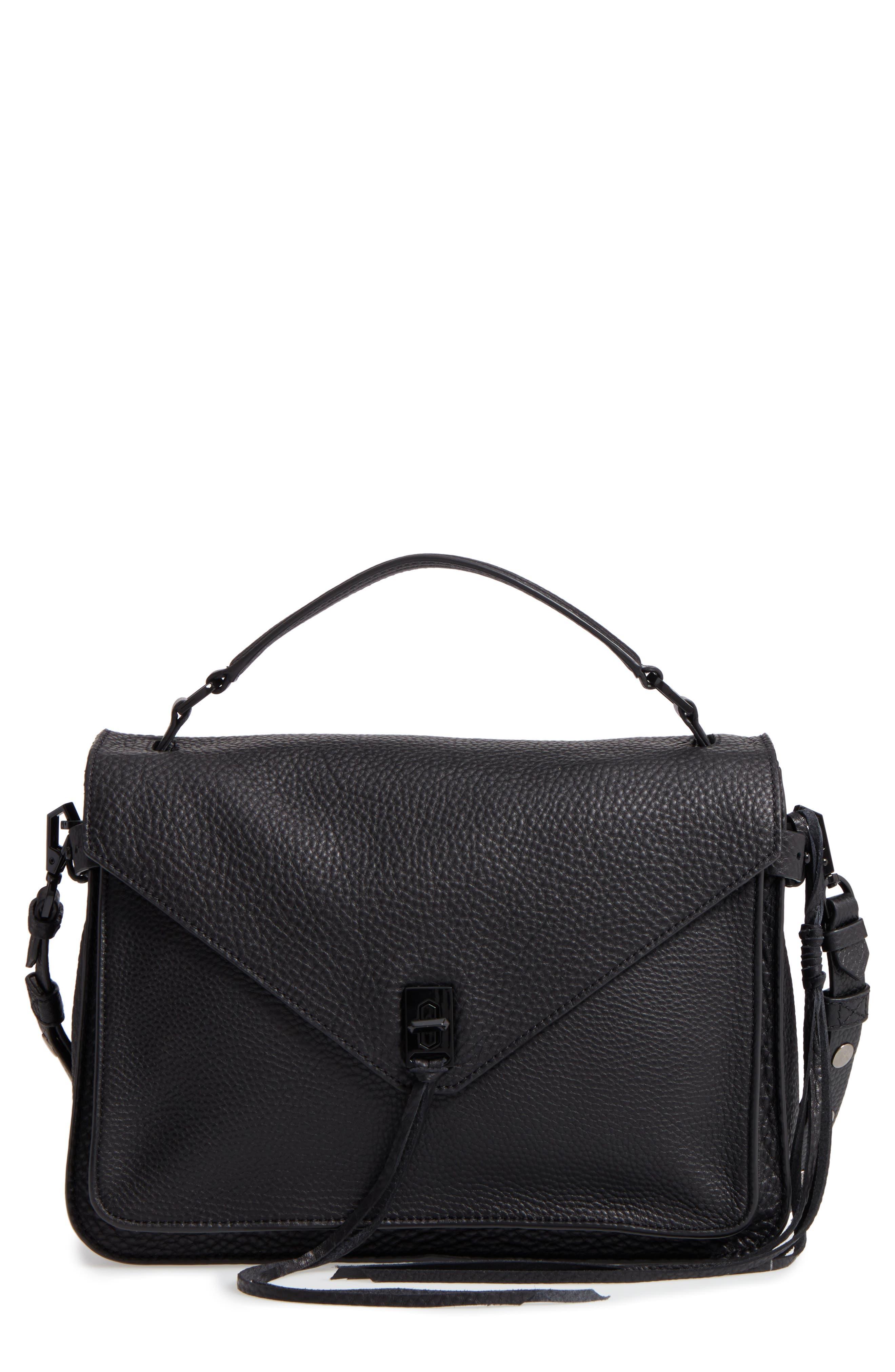 Darren Leather Messenger Bag,                             Main thumbnail 1, color,                             Black