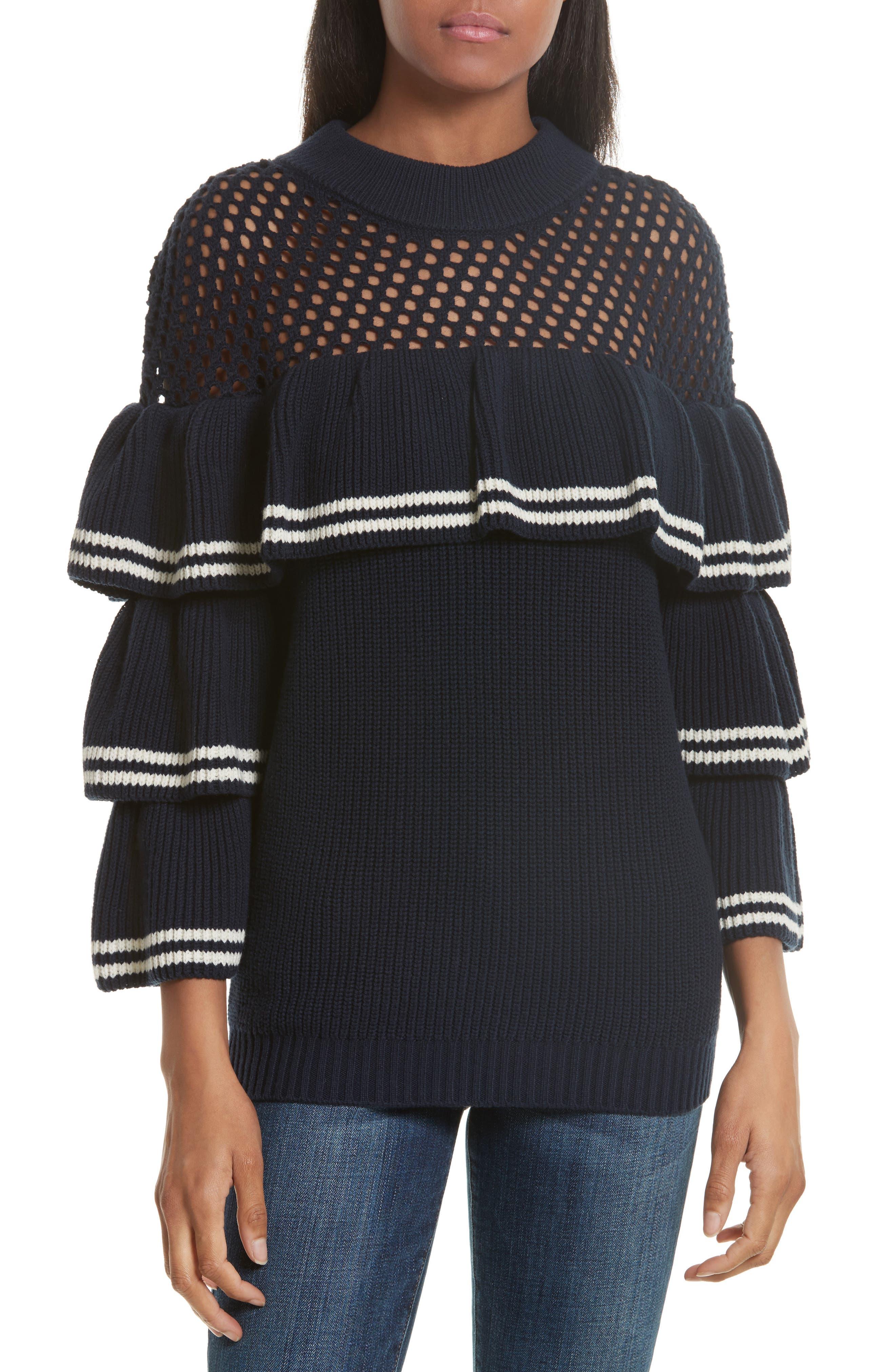 Self-Portrait Stripe Ruffle Wool & Cotton Sweater