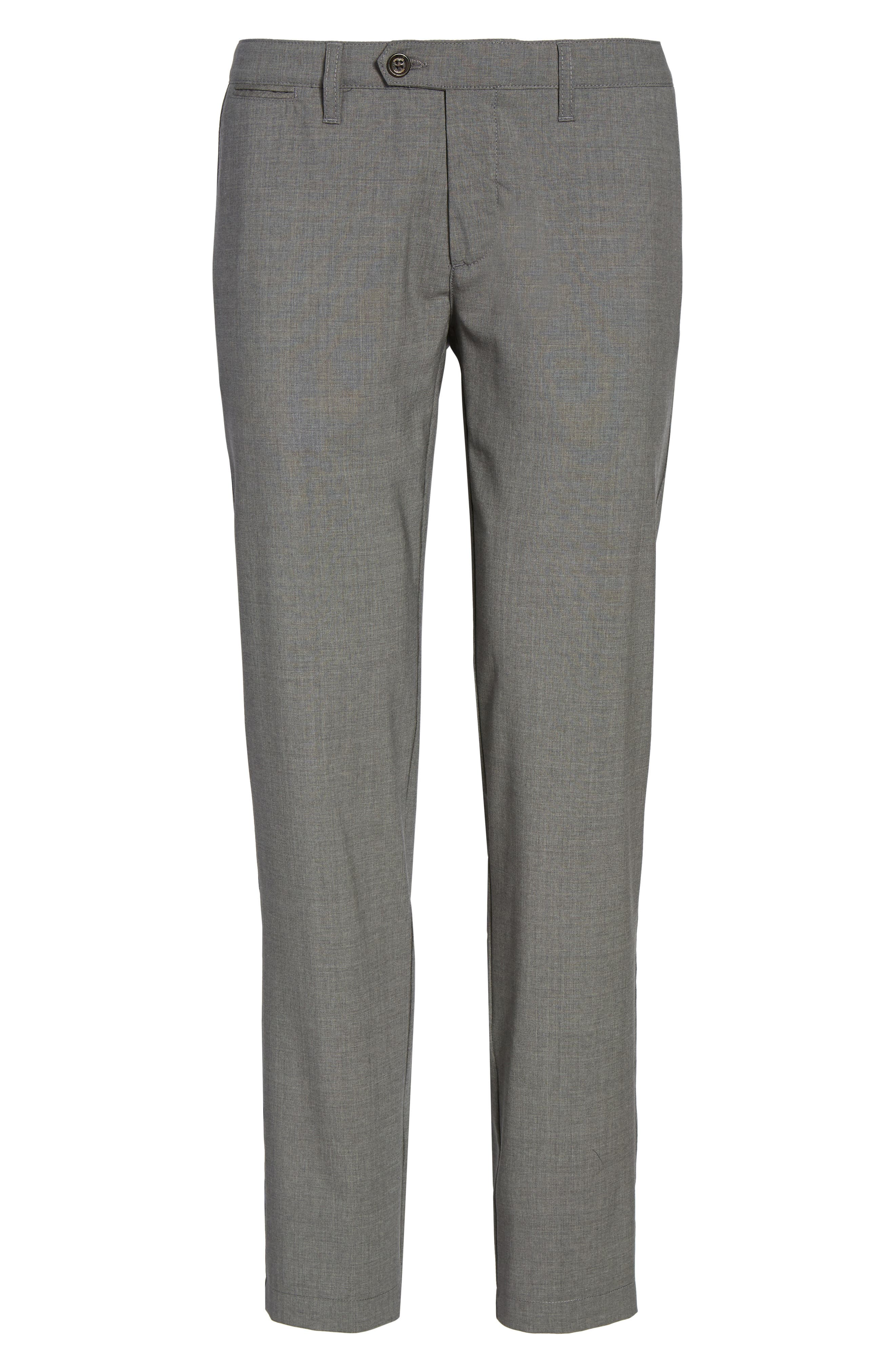Flat Front Wool Trousers,                             Alternate thumbnail 6, color,                             Medium Grey