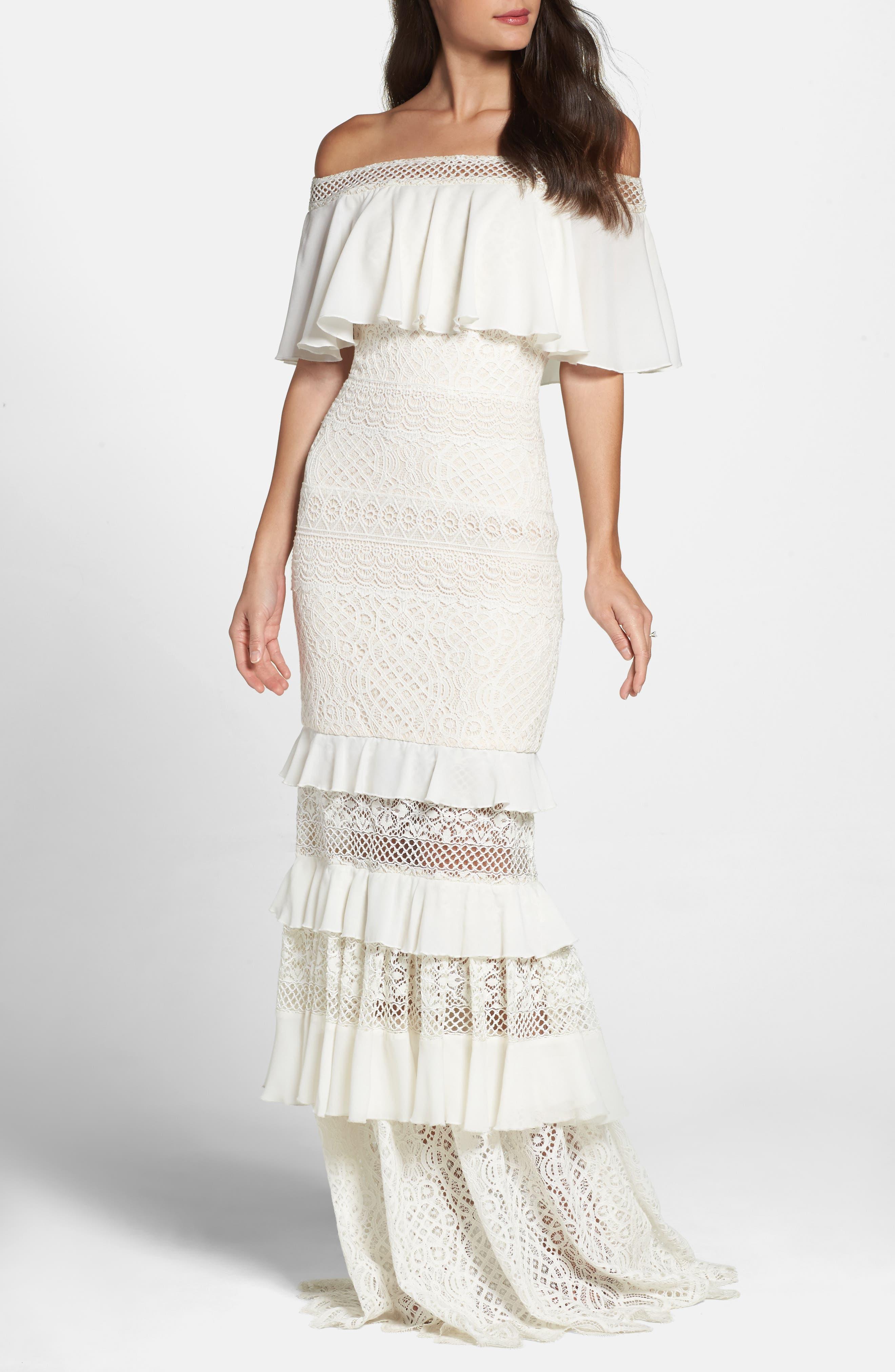 Off the Shoulder Crochet Gown,                         Main,                         color, Ivory/ Primrose