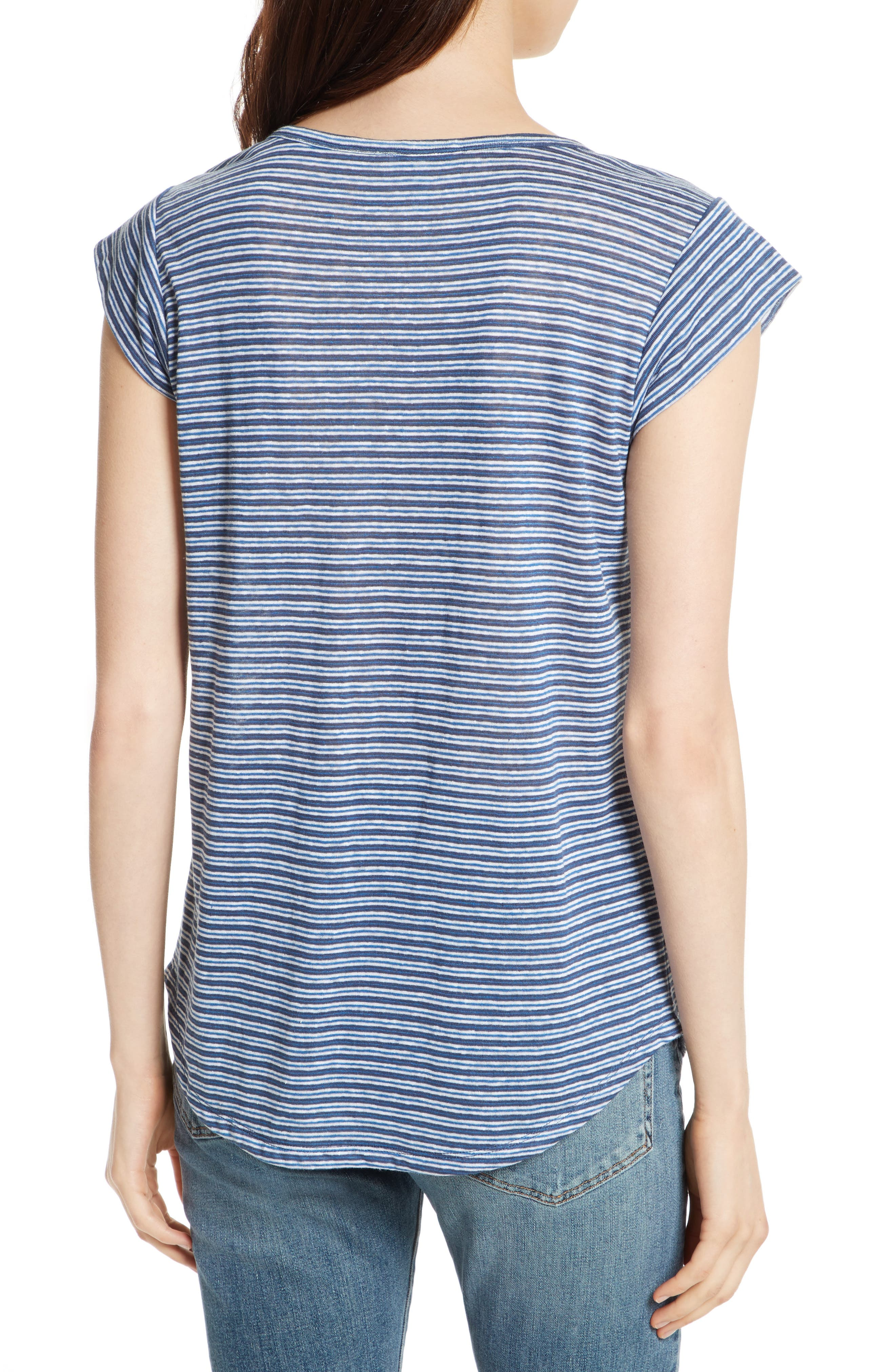 Neyo Stripe Linen Tee,                             Alternate thumbnail 2, color,                             Moroccan Blue