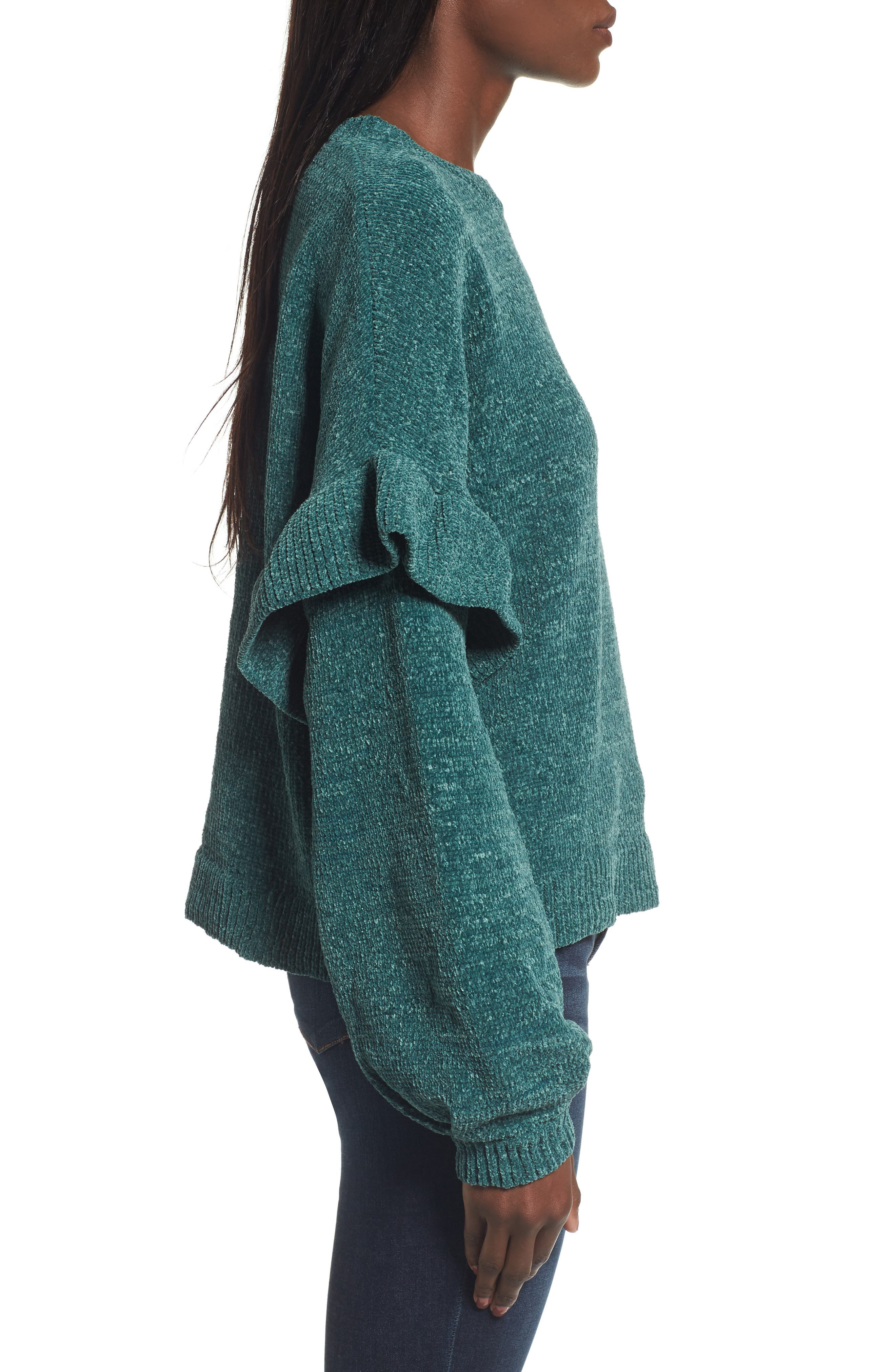 Ruffle Chenille Sweater,                             Alternate thumbnail 3, color,                             Green Jasper