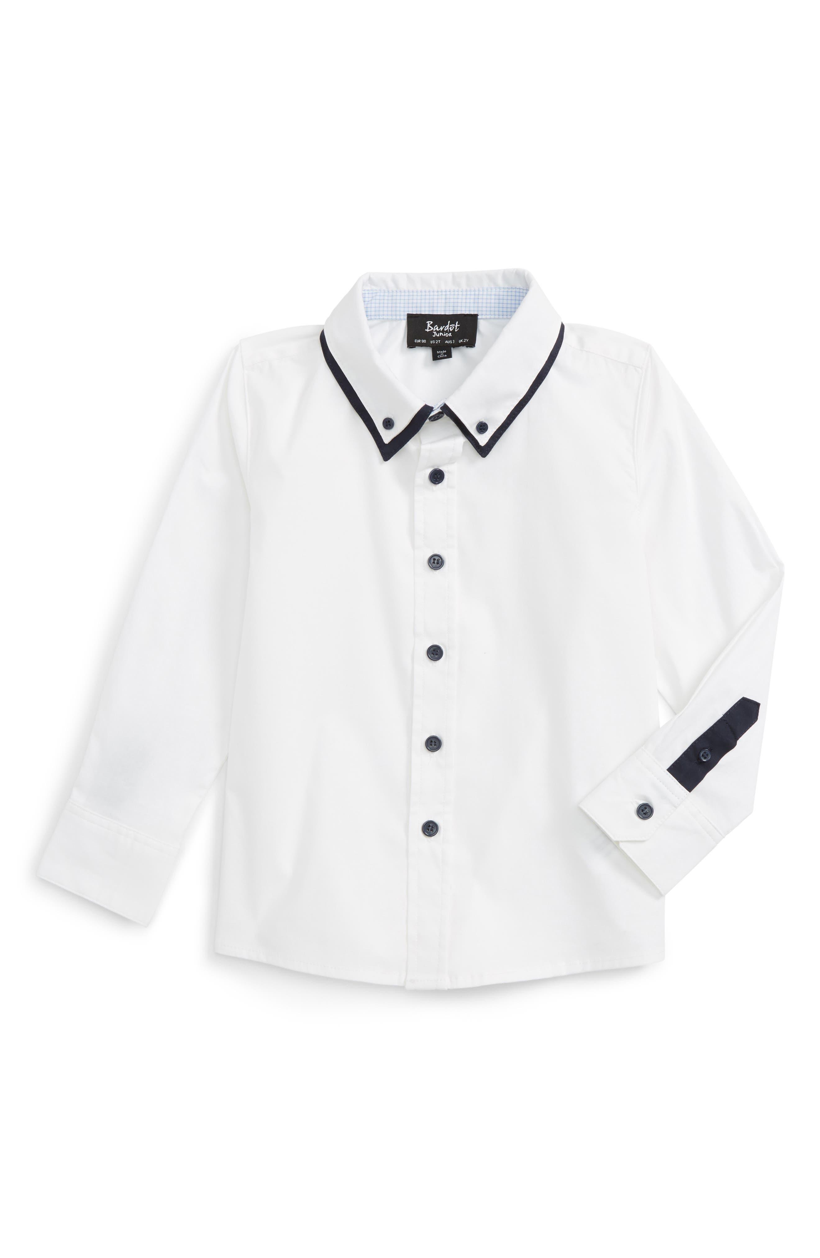Atlantic Contrast Trim Shirt,                             Main thumbnail 1, color,                             White