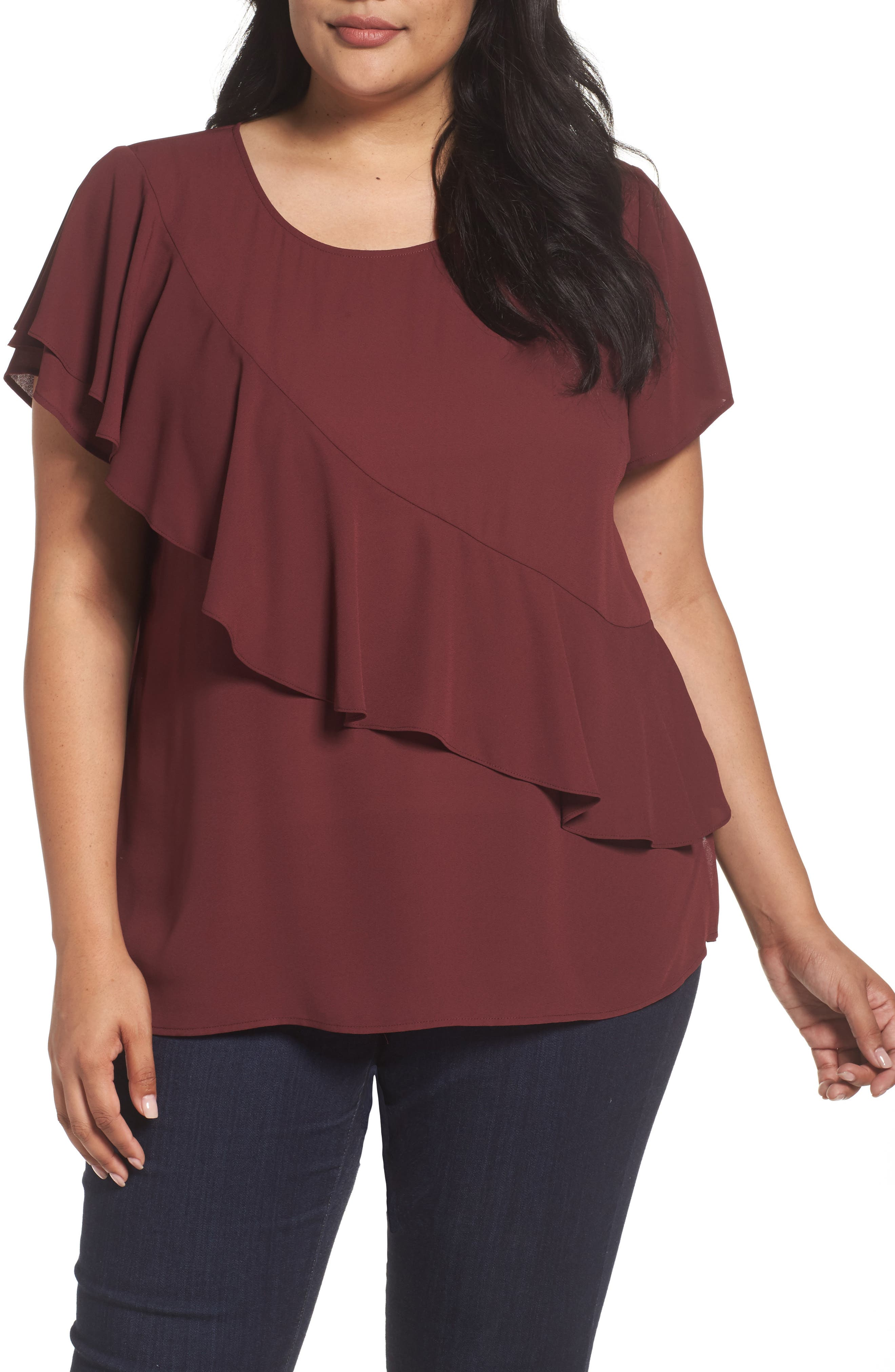 Sejour Woven Ruffle Tee (Plus Size)