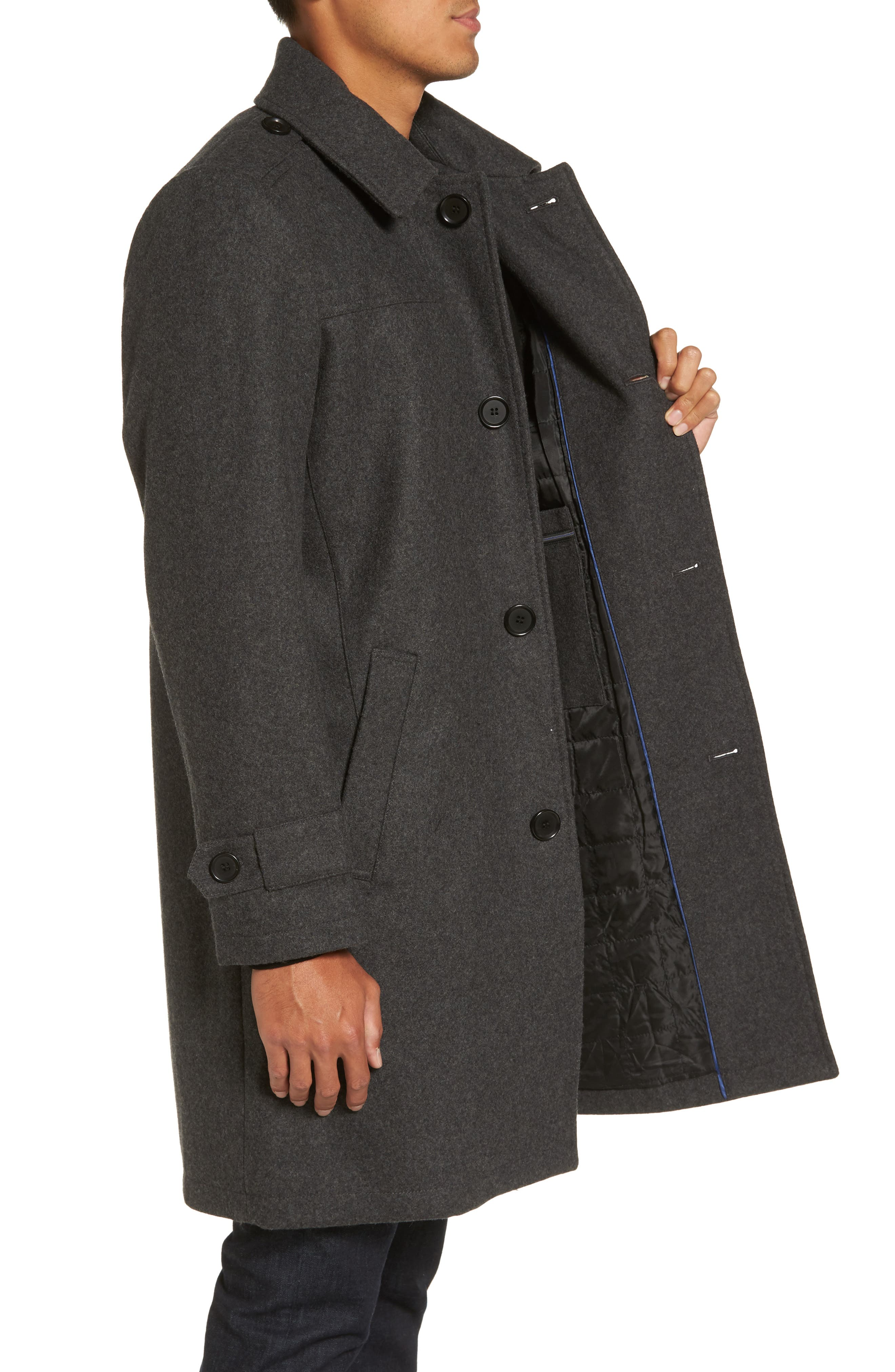 Wool Blend Overcoat,                             Alternate thumbnail 3, color,                             Charcoal
