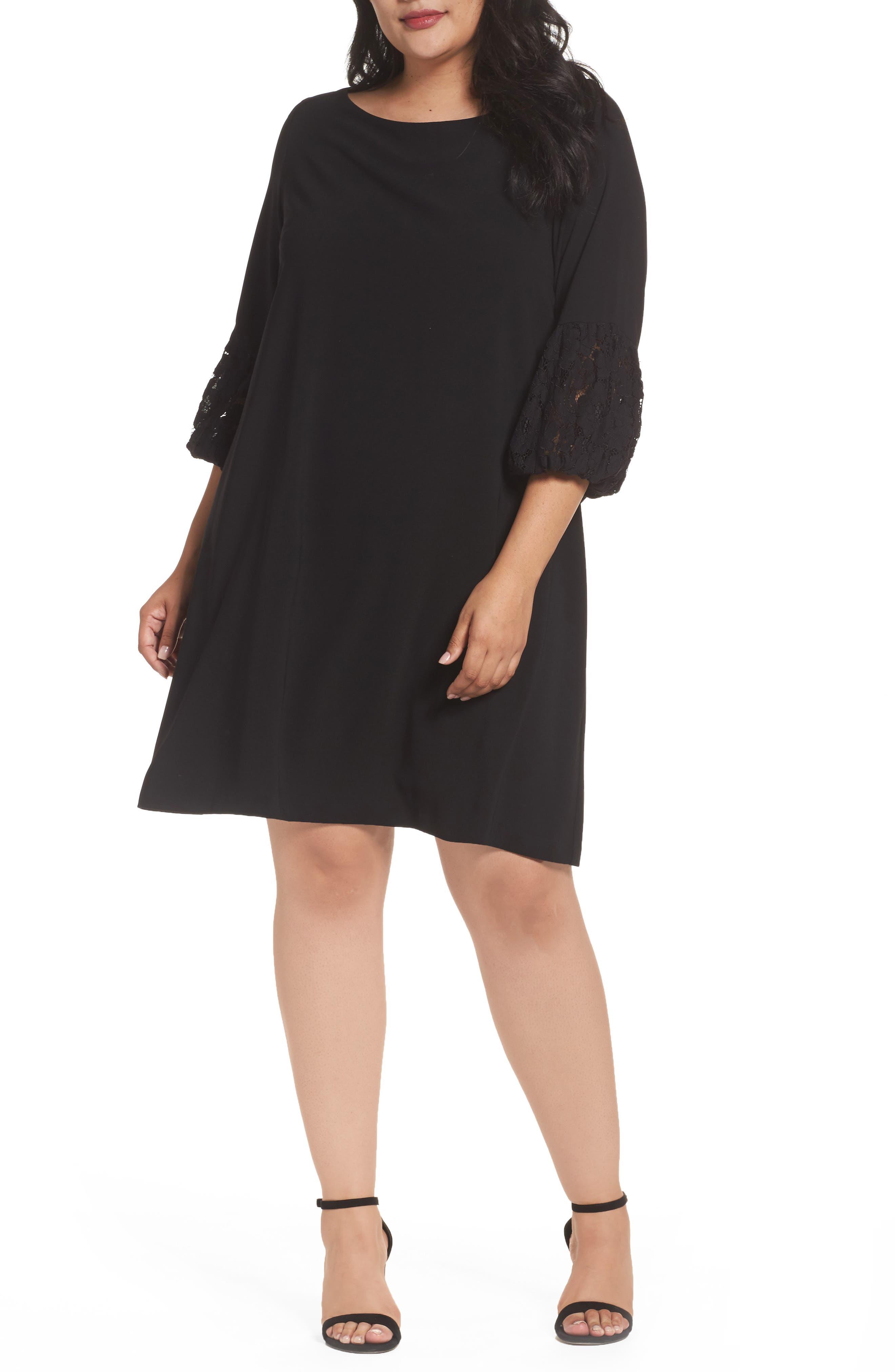 Lace Sleeve Trapeze Dress,                             Main thumbnail 1, color,                             Black