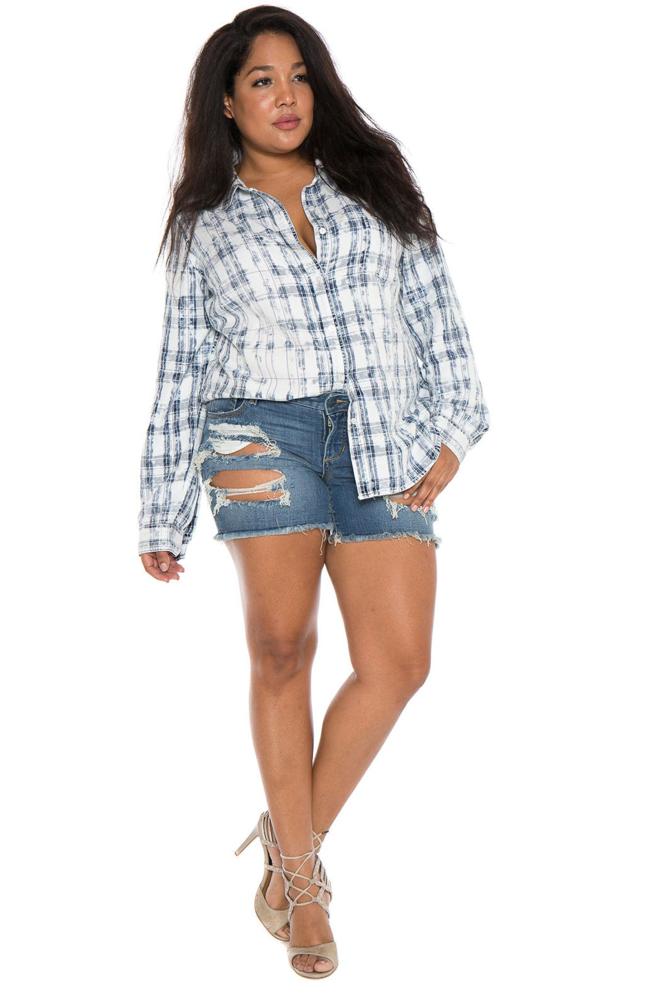 Plaid Western Shirt,                             Alternate thumbnail 3, color,                             White/ Blue