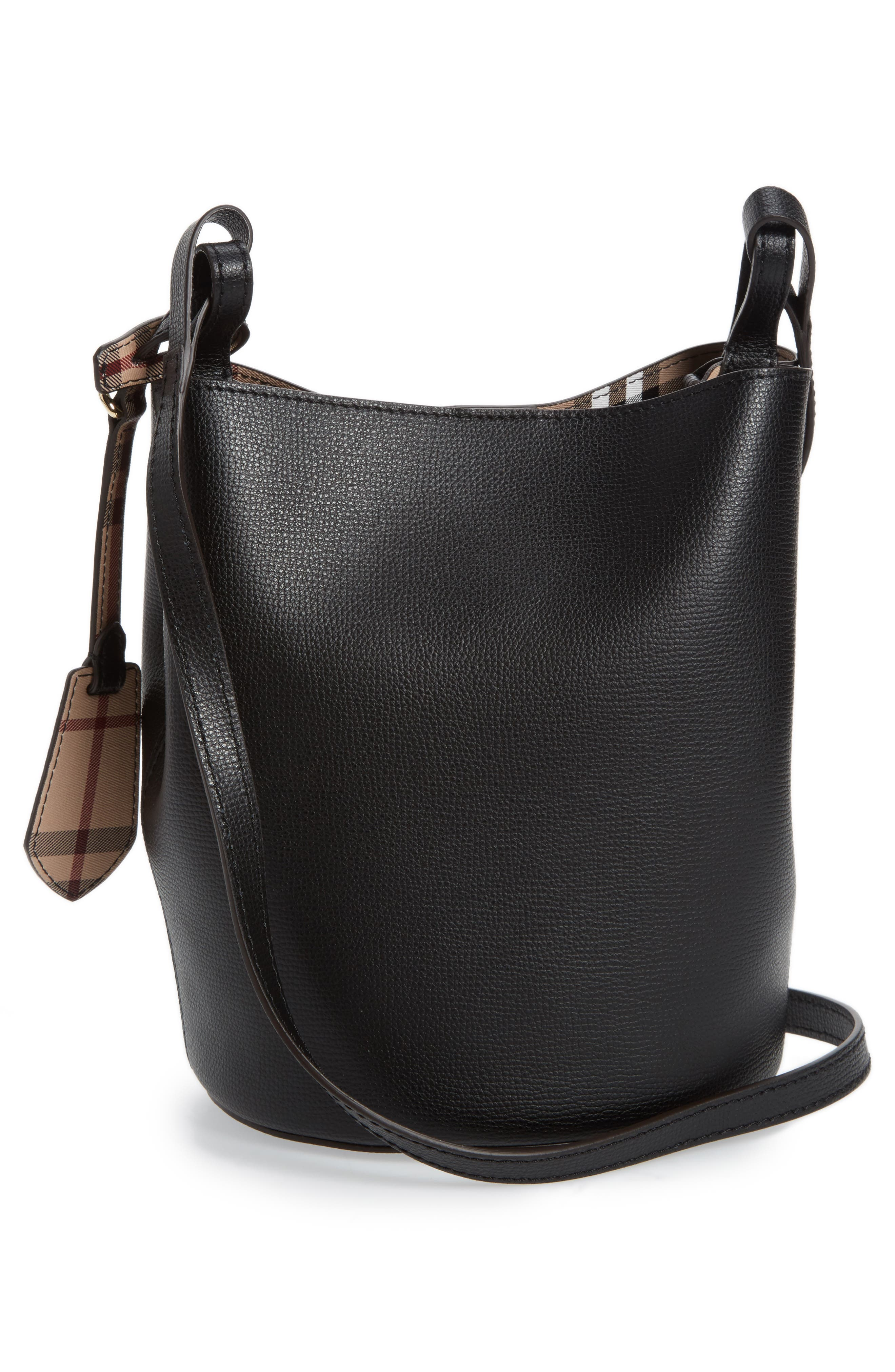 Small Lorne Leather Bucket Bag,                             Alternate thumbnail 3, color,                             Black