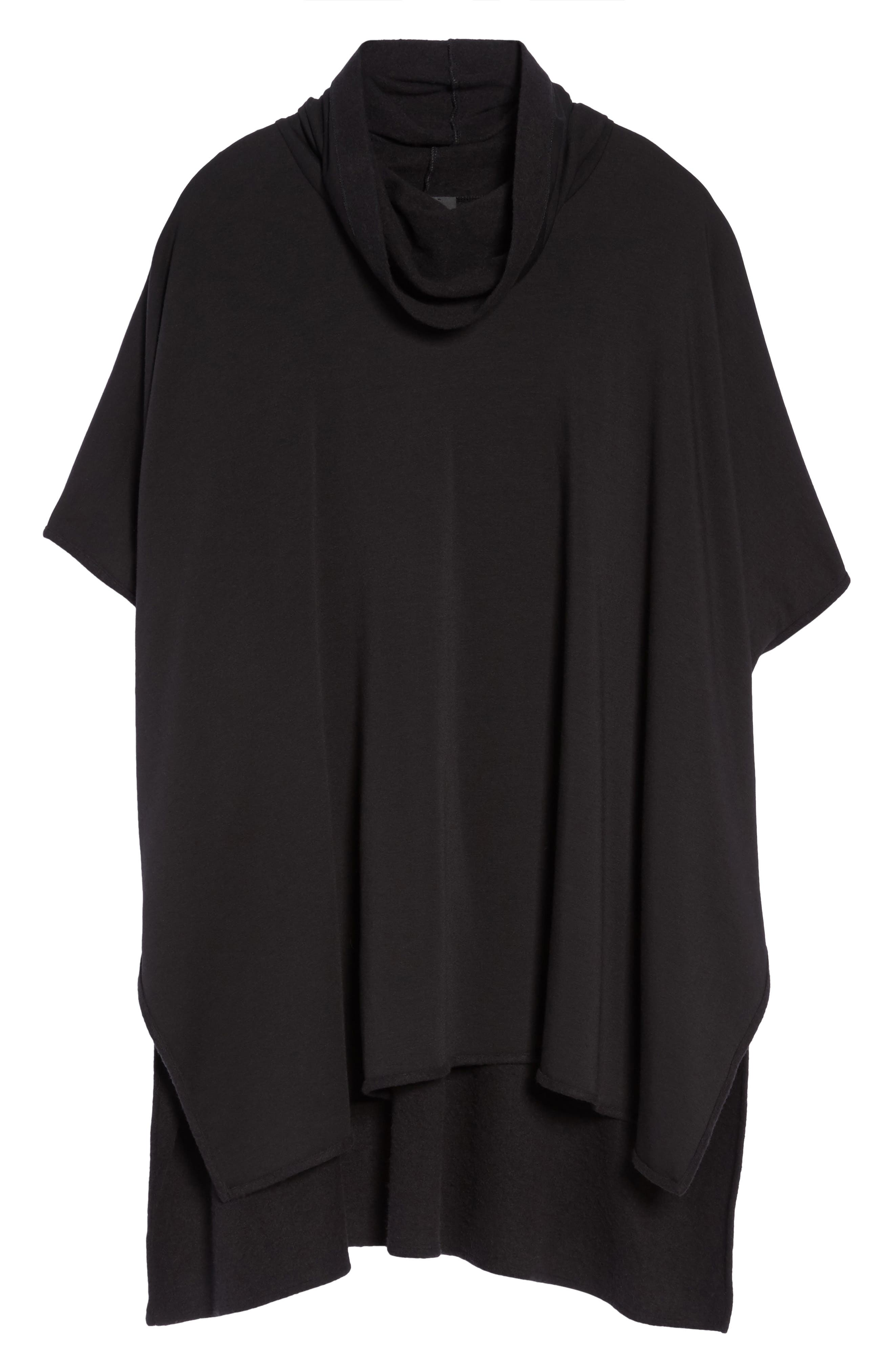 Brushed Jersey Poncho,                             Alternate thumbnail 4, color,                             Black