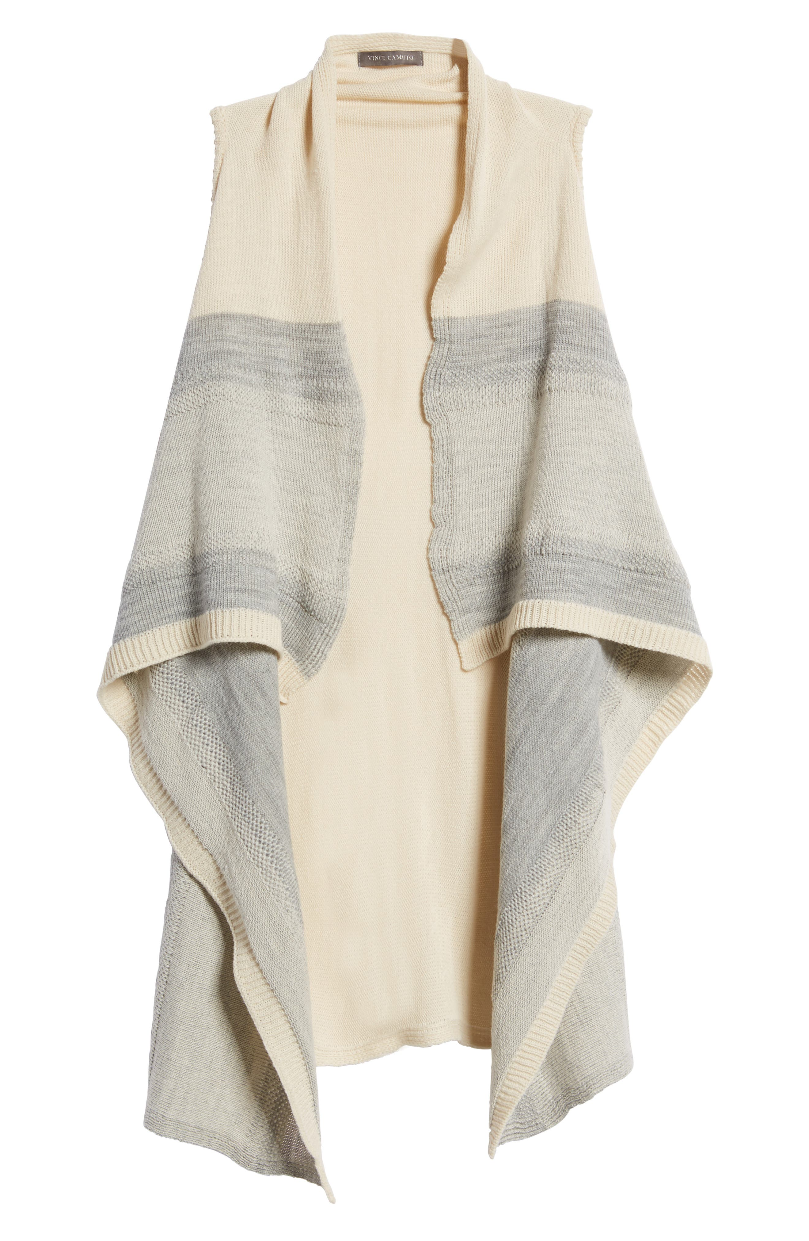 Faded Stripes Knit Vest,                             Alternate thumbnail 5, color,                             Off White