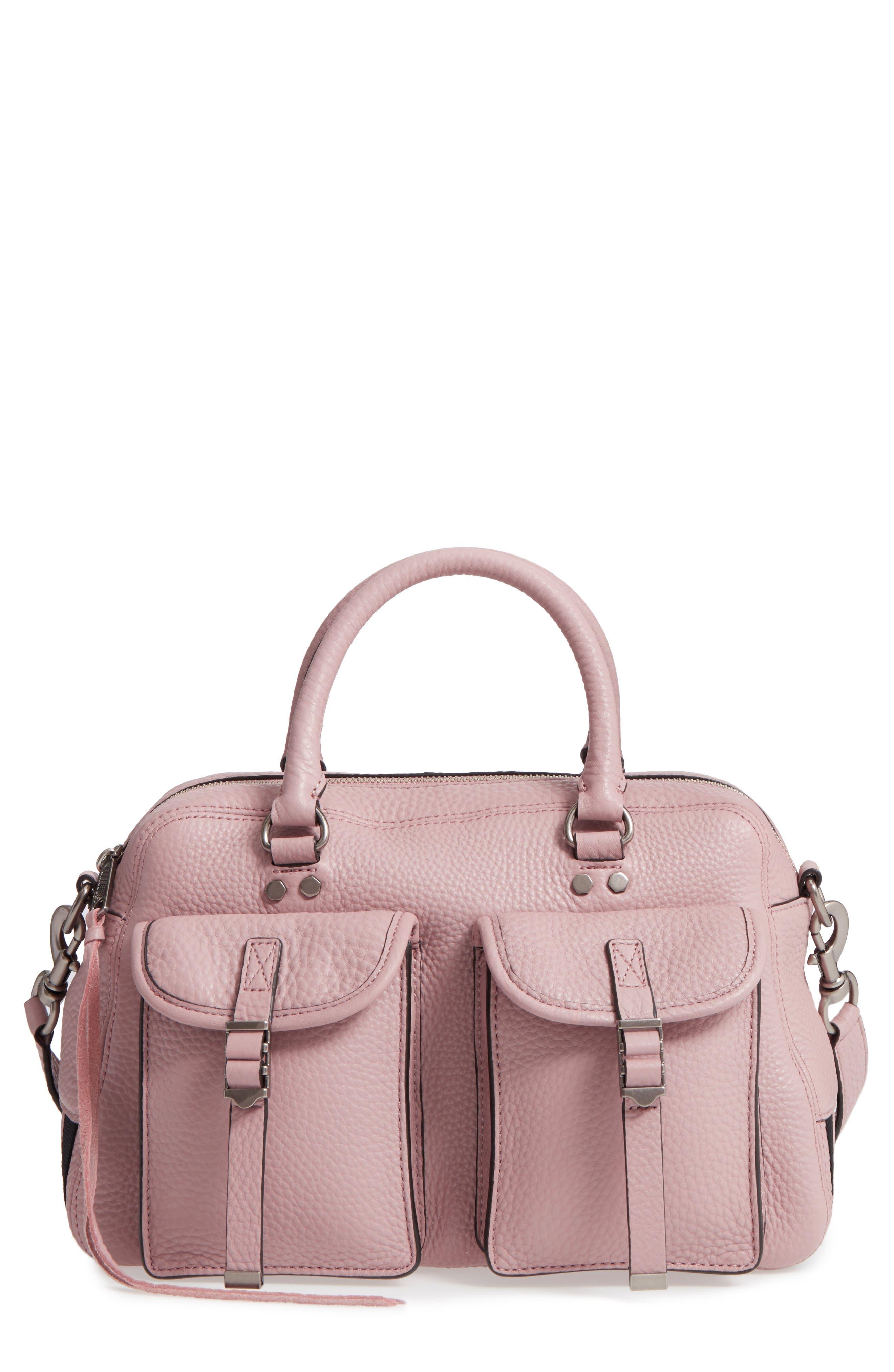 Military Pocket Leather Satchel,                             Main thumbnail 1, color,                             Vintage Pink