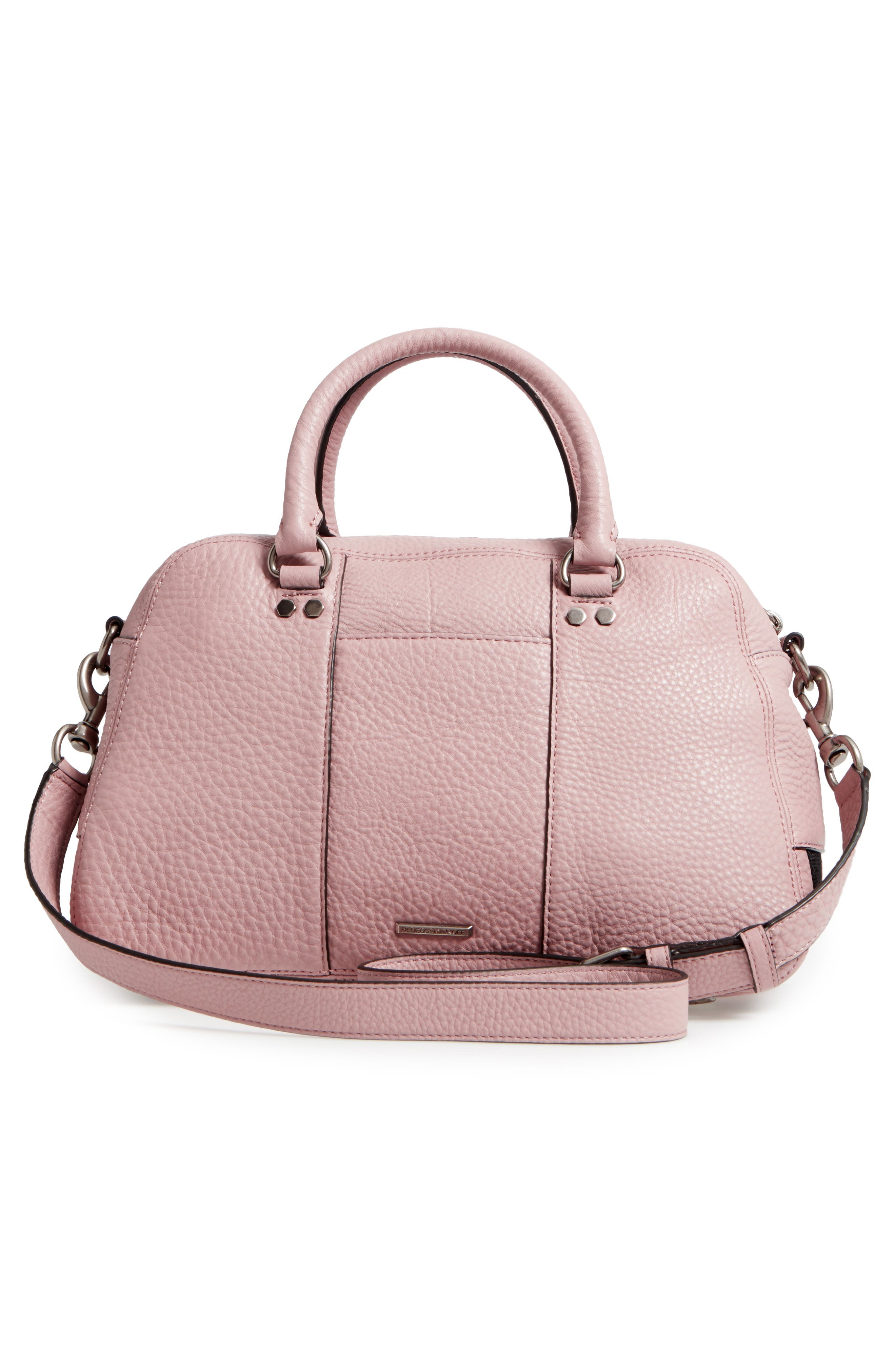 Military Pocket Leather Satchel,                             Alternate thumbnail 3, color,                             Vintage Pink