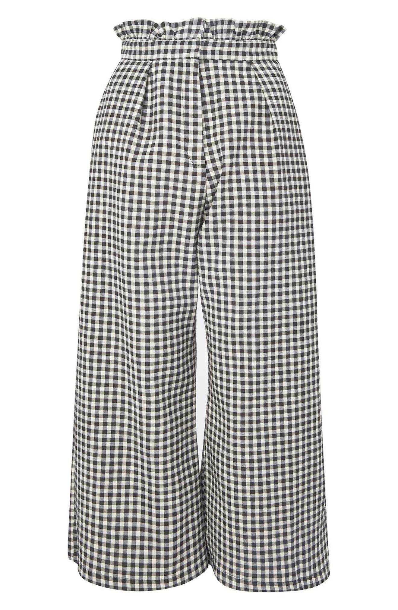 TOPSHOP Ruffle Trim Gingham Trousers