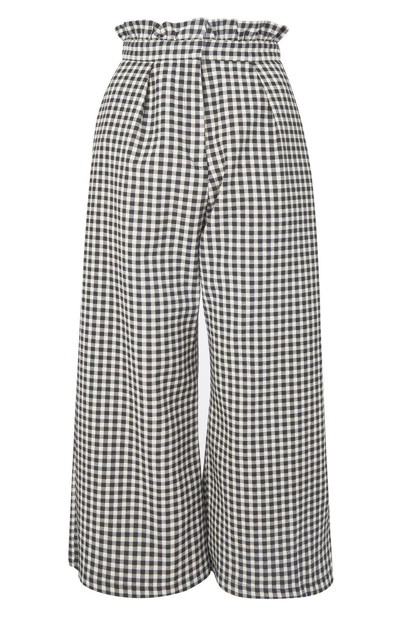 Topshop Ruffle Trim Gingham Trousers (Regular & Petite)