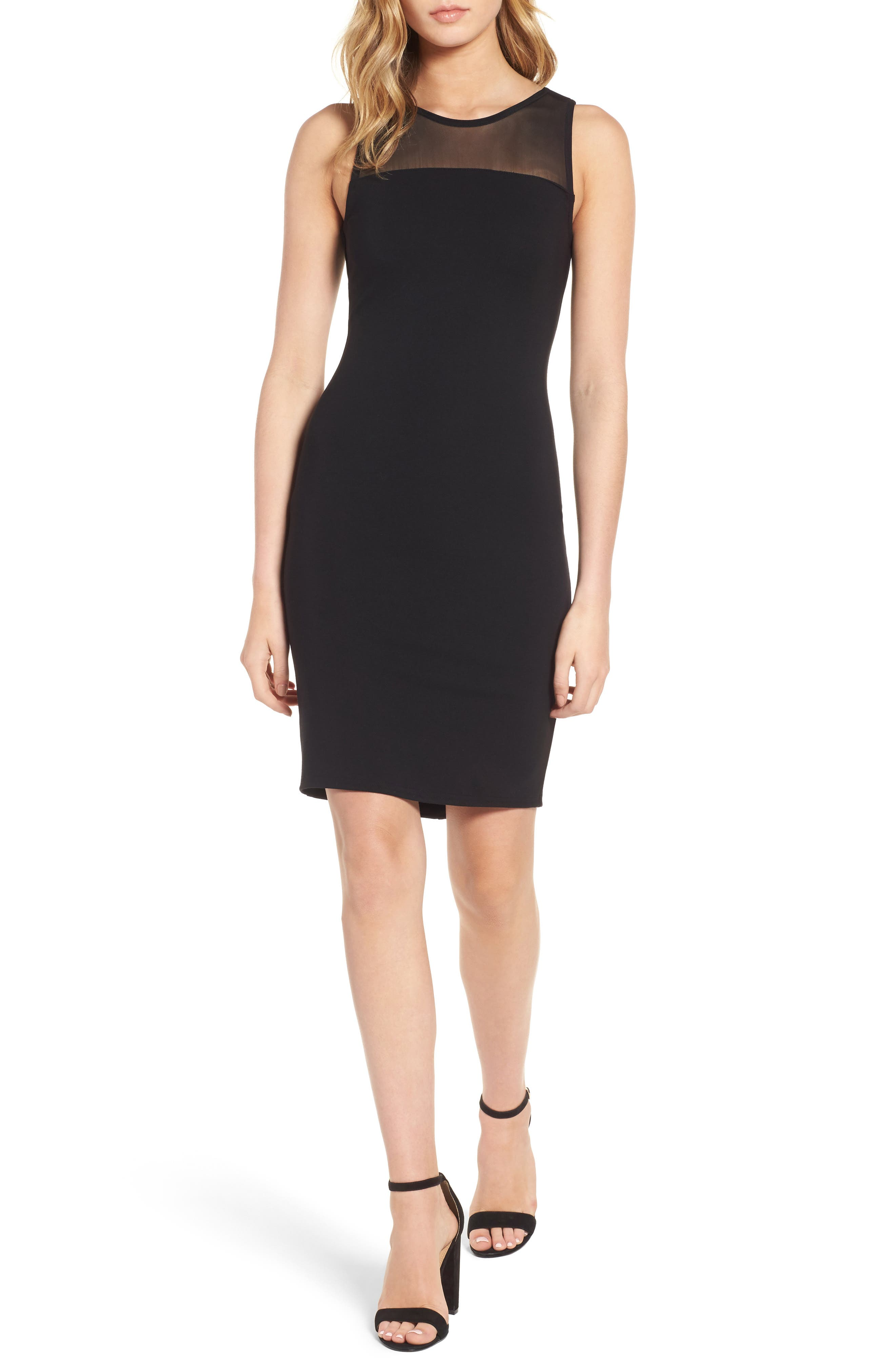 Mesh Inset Body-Con Dress,                         Main,                         color, Black