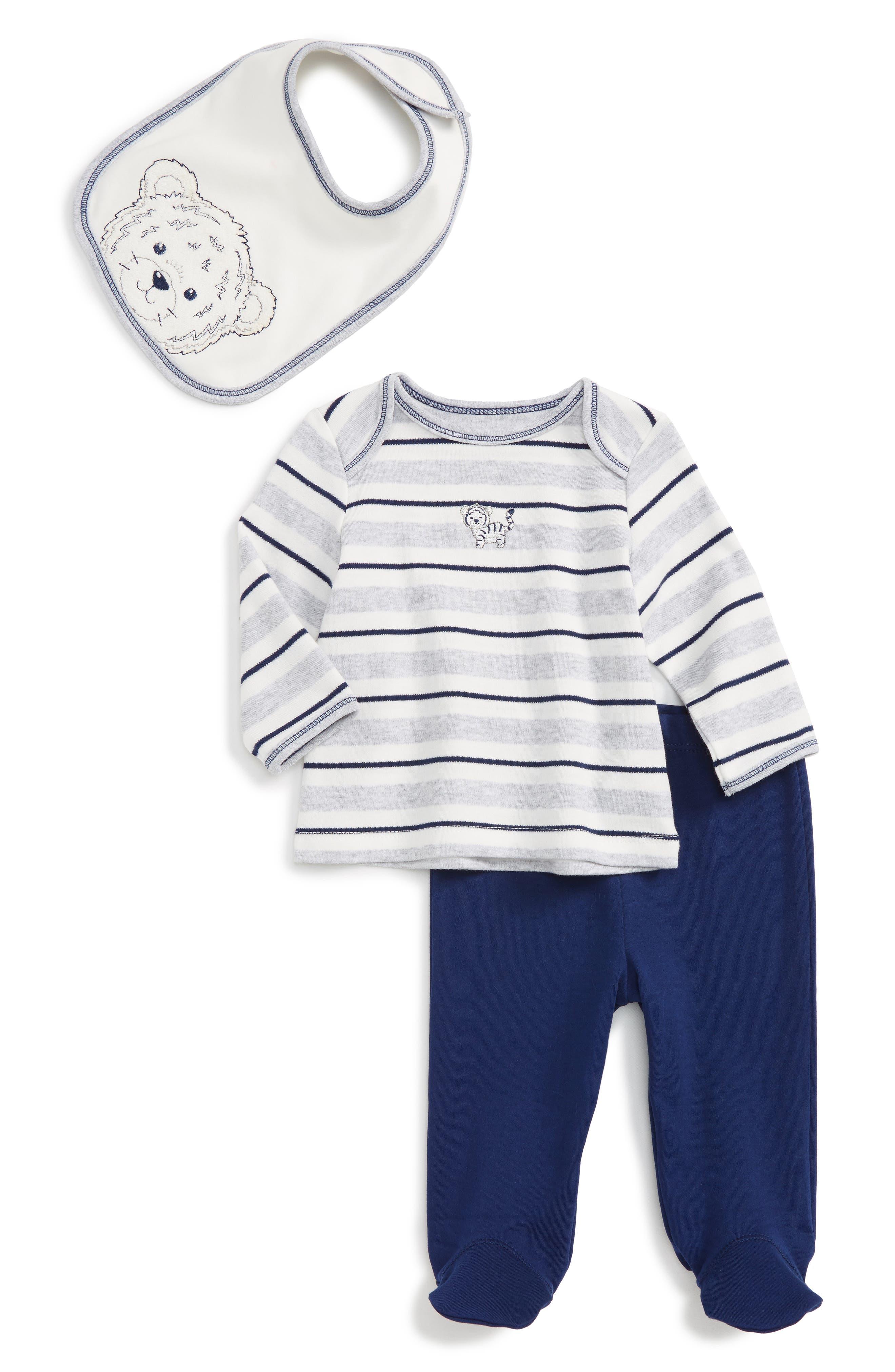 LITTLE ME Tiger Stripe T-Shirt, Pants & Bib Set