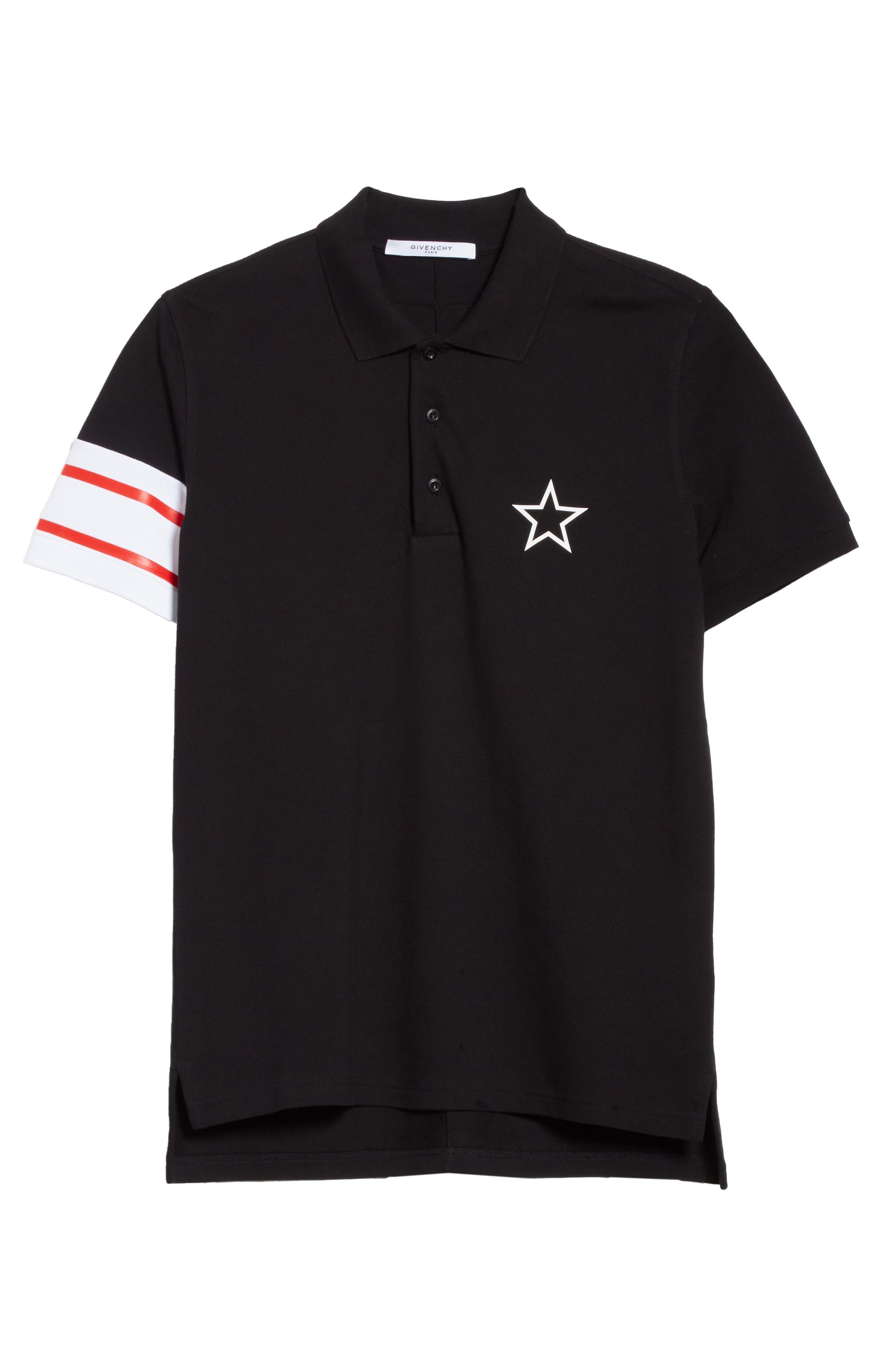 Cuban Fit Stripe Sleeve Polo,                             Alternate thumbnail 6, color,                             Black