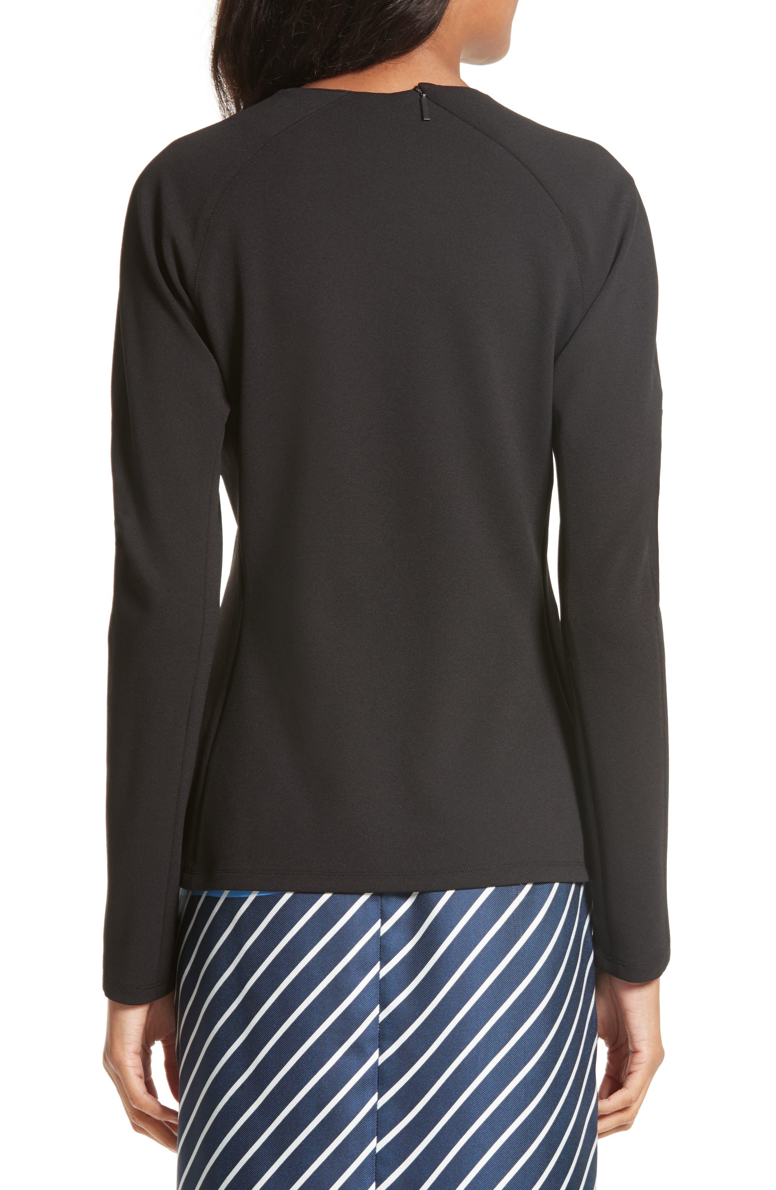 Shirred Stretch Crepe Top,                             Alternate thumbnail 2, color,                             Black