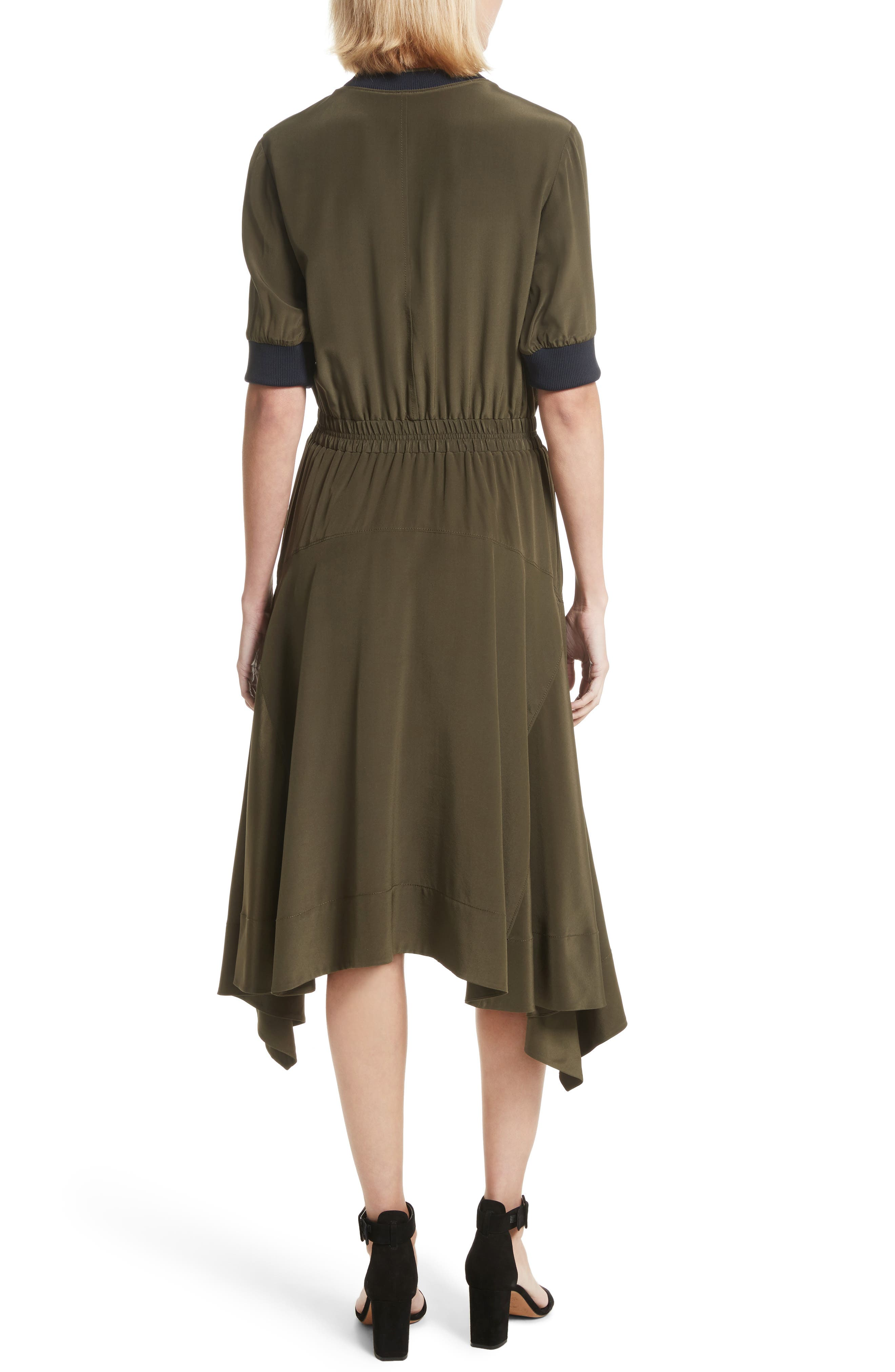 Ribbed Detail Silk Handkerchief Dress,                             Alternate thumbnail 2, color,                             Moss