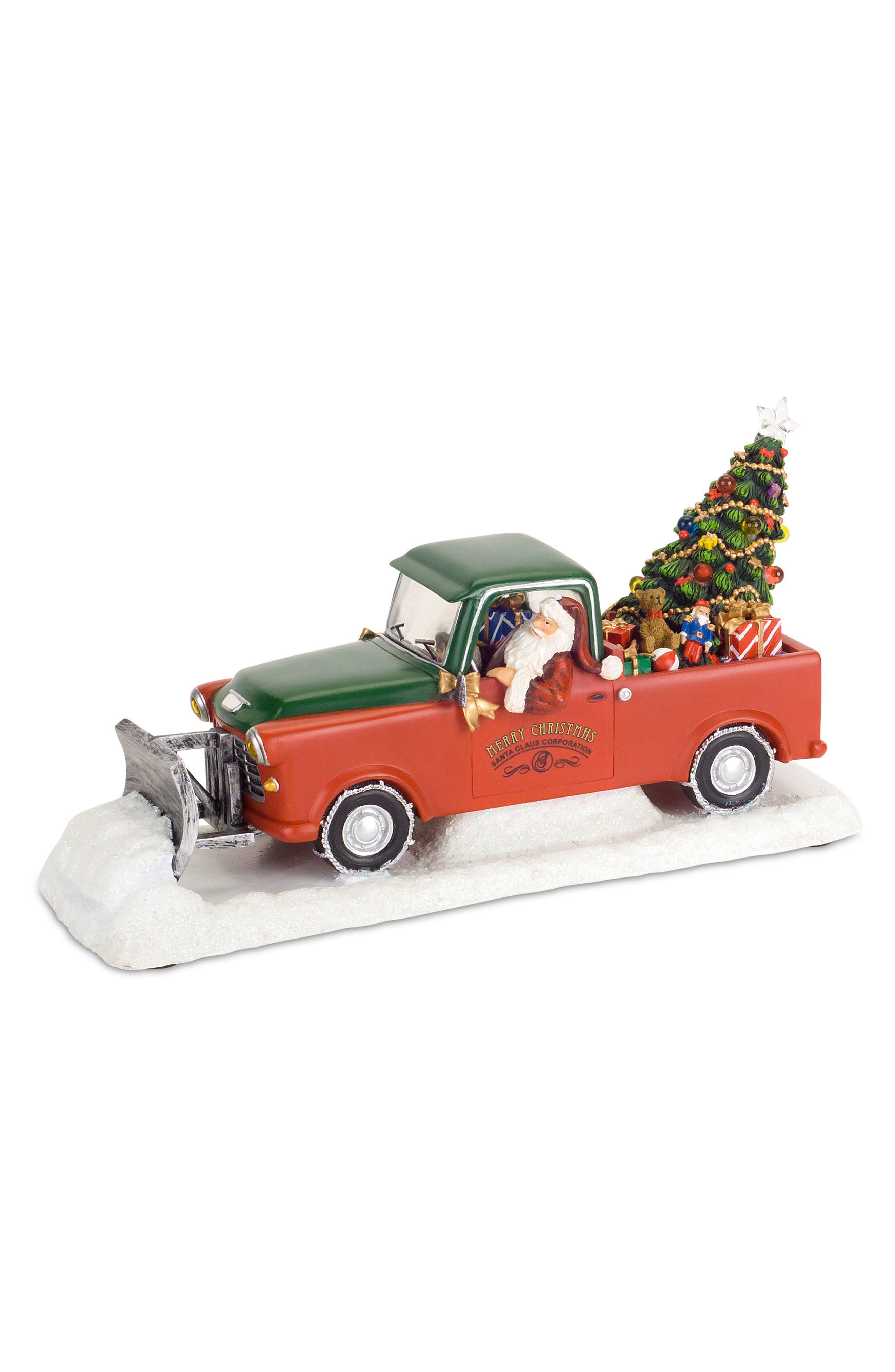 Santa's Truck Light-Up Musical Statue,                         Main,                         color, Red