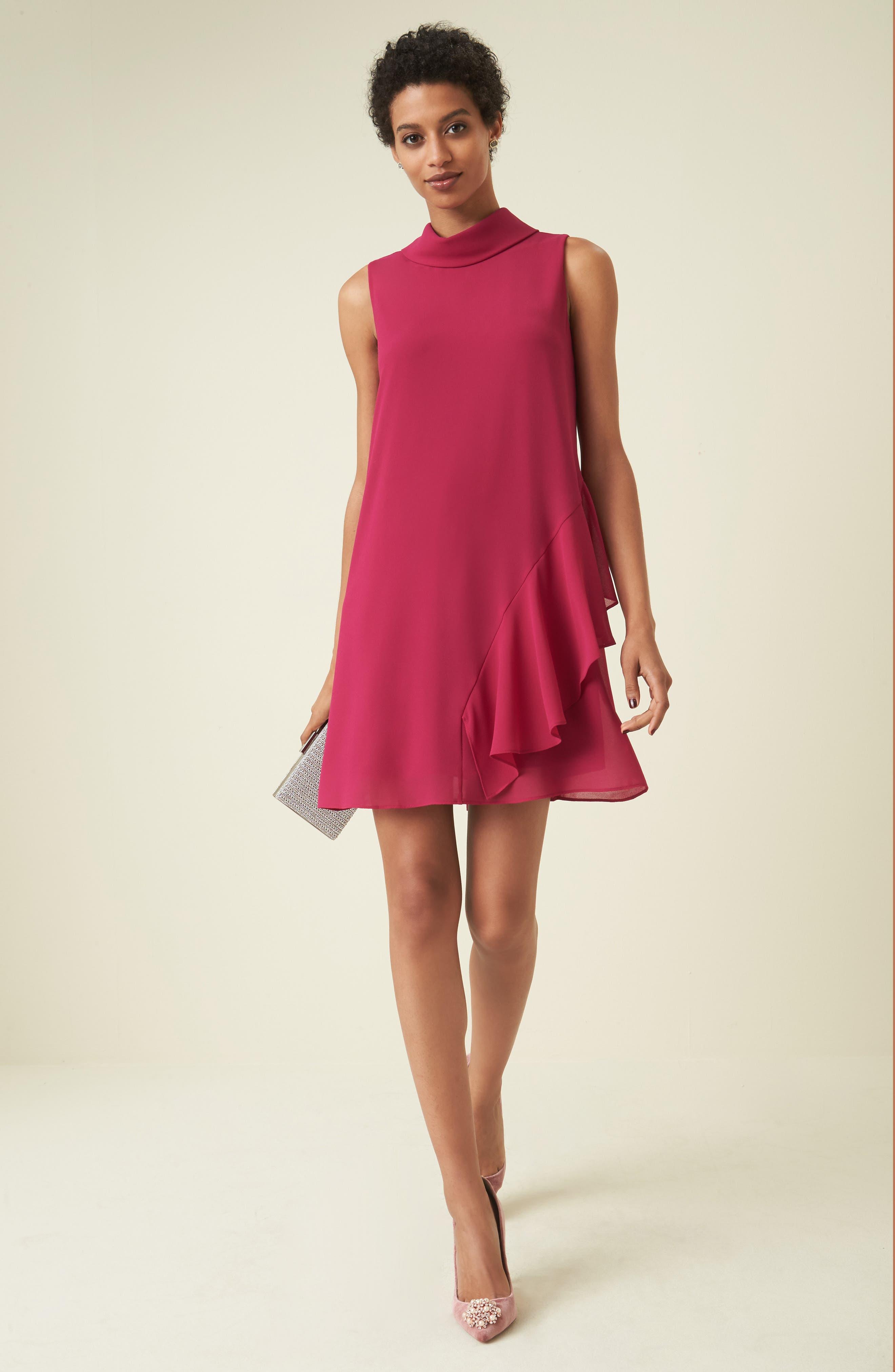 Roll Neck Chiffon Dress,                             Alternate thumbnail 2, color,                             Magenta