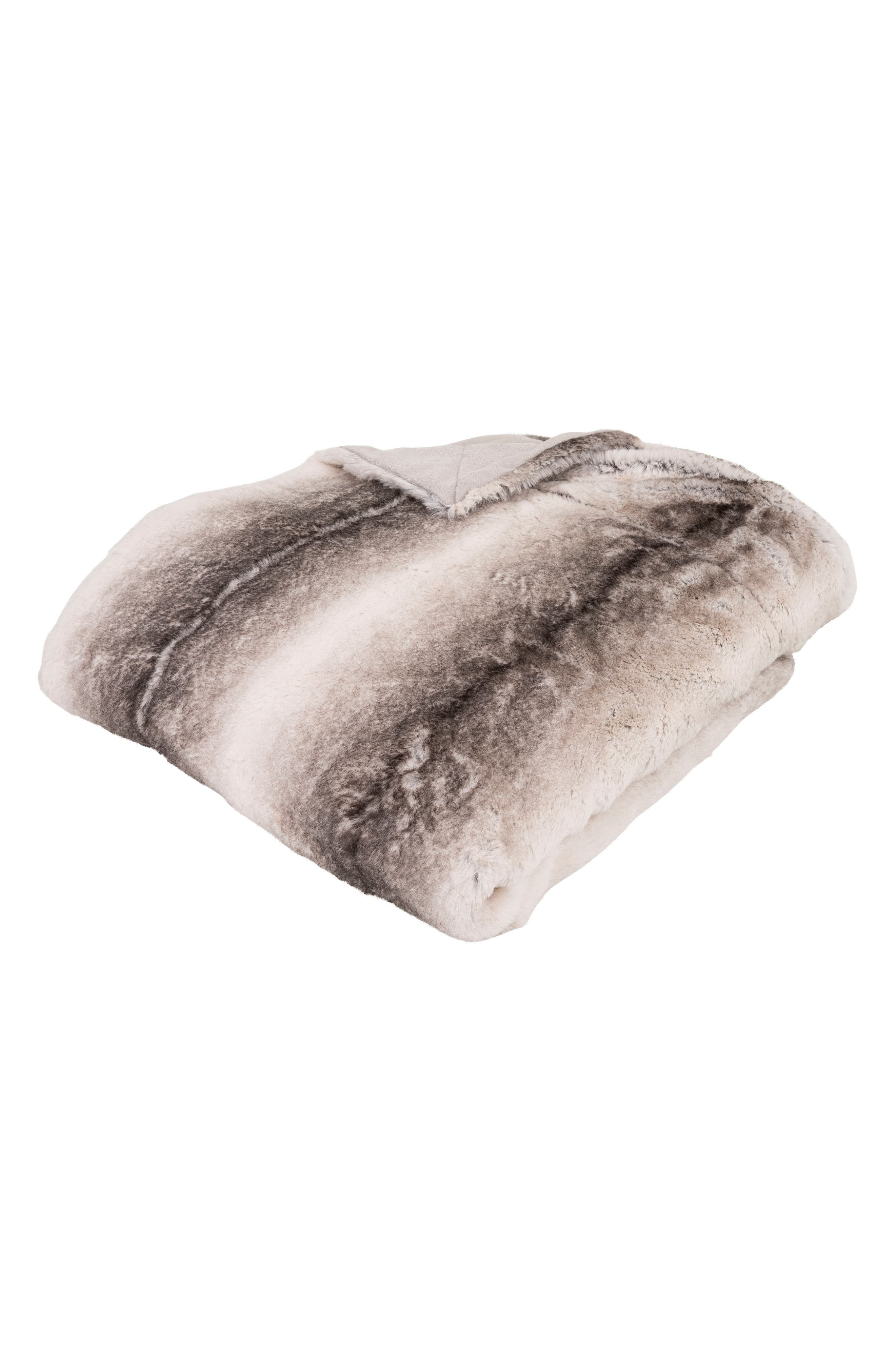Wildlife Faux Fur Throw Blanket,                             Main thumbnail 1, color,                             Grey