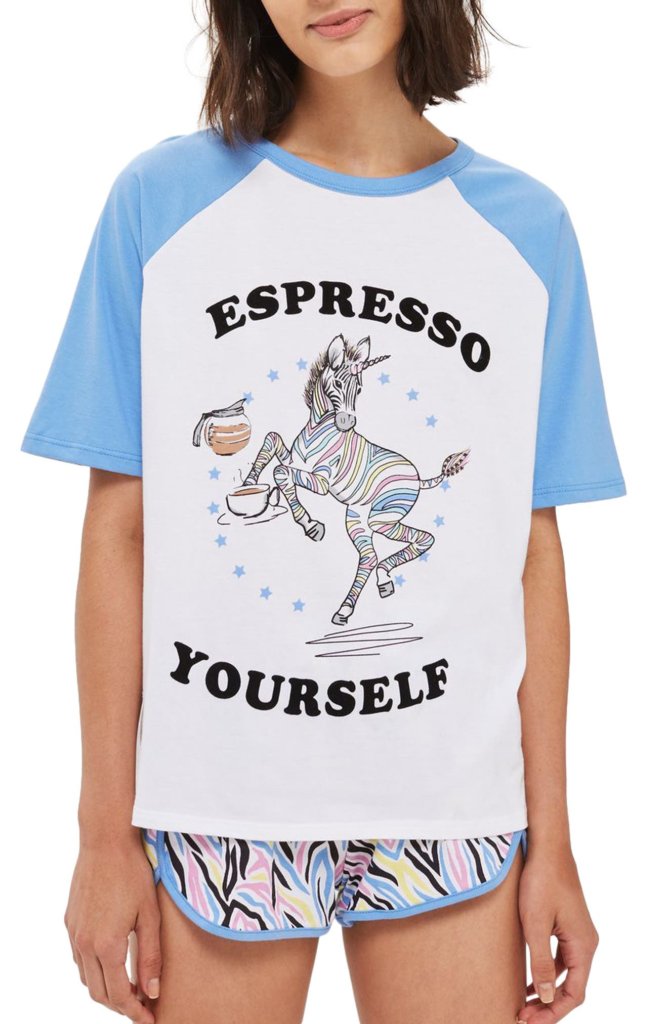 Espresso Yourself Short Pajamas,                             Main thumbnail 1, color,                             Blue Multi