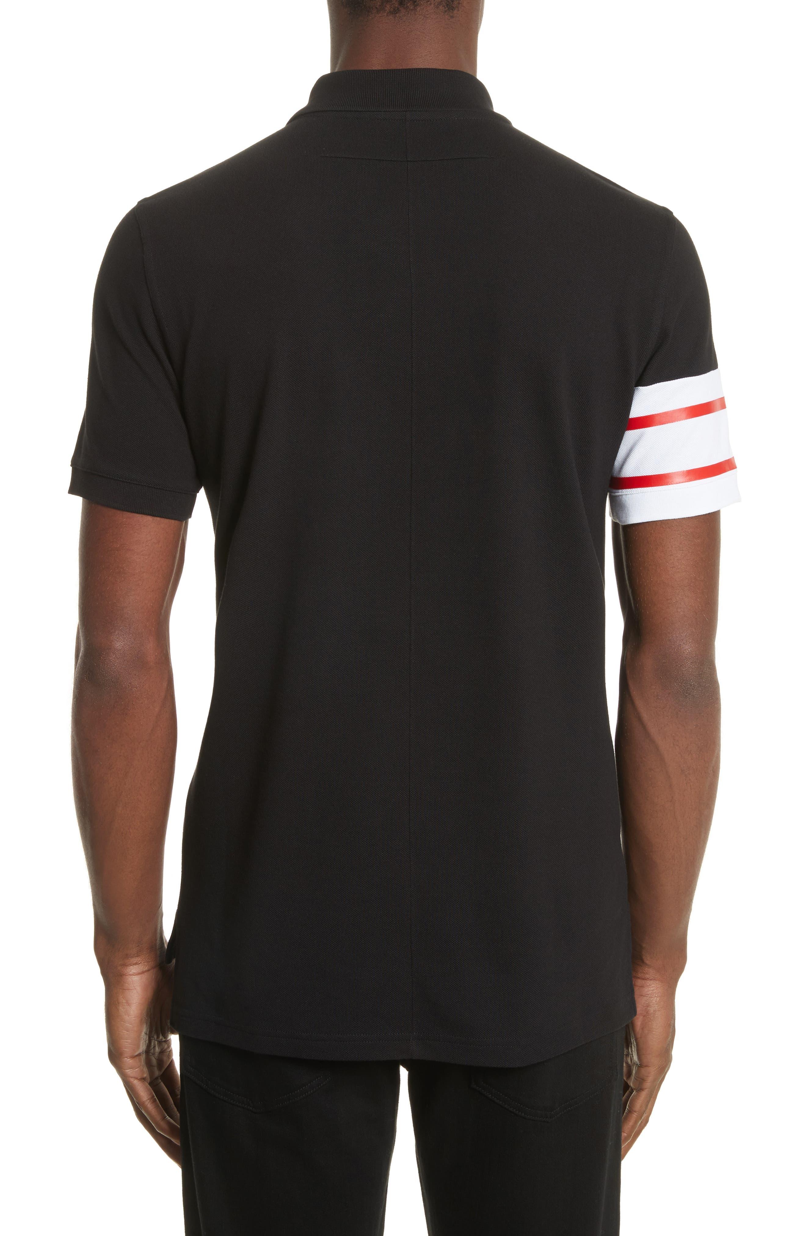 Cuban Fit Stripe Sleeve Polo,                             Alternate thumbnail 2, color,                             Black