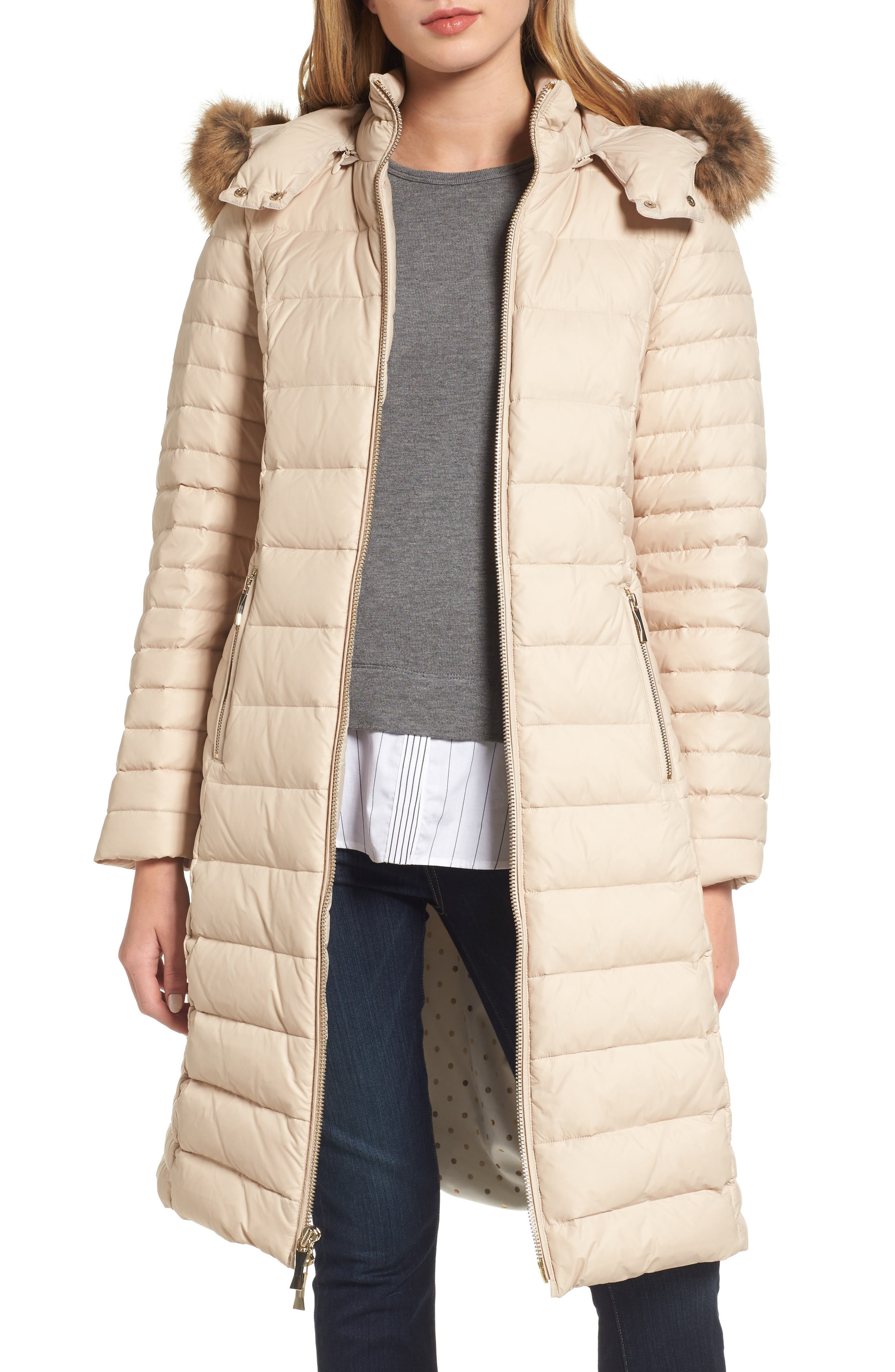 down puffer coat with faux fur trim,                         Main,                         color, Deco Beige