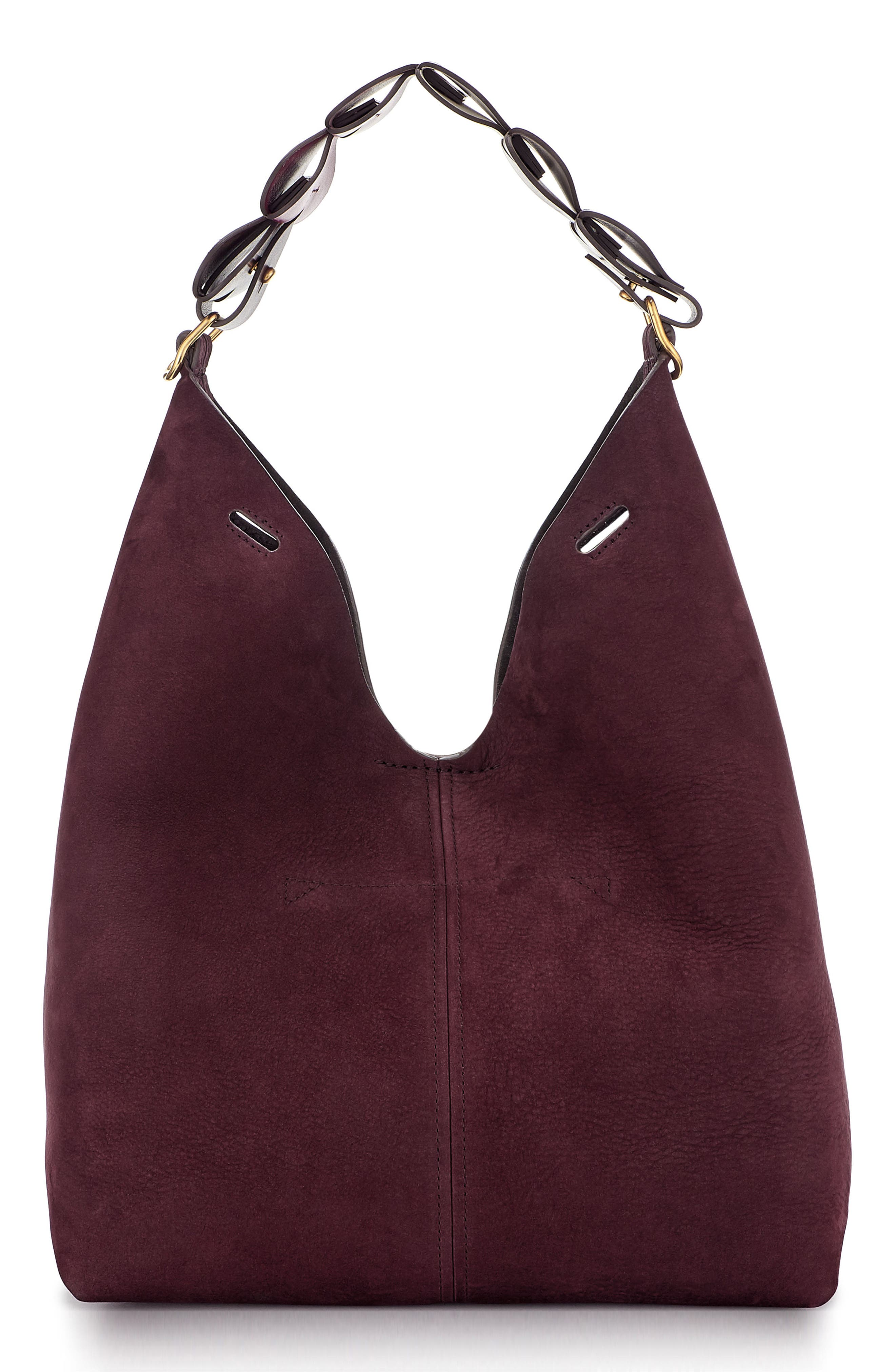 Heart Link Small Suede Bucket Bag,                             Main thumbnail 1, color,                             Claret
