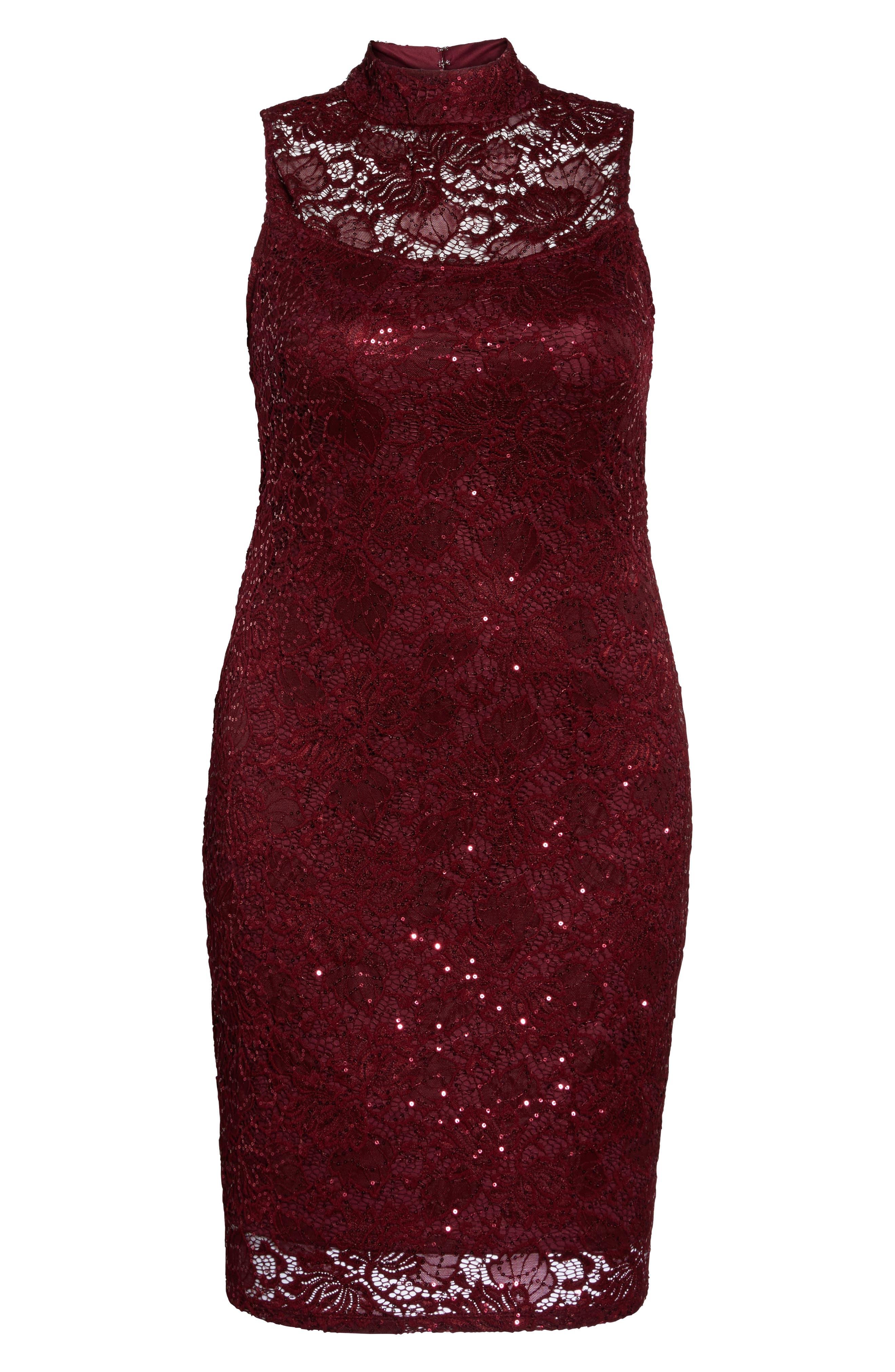 Sequin Lace Sheath Dress,                             Main thumbnail 1, color,                             Burgundy