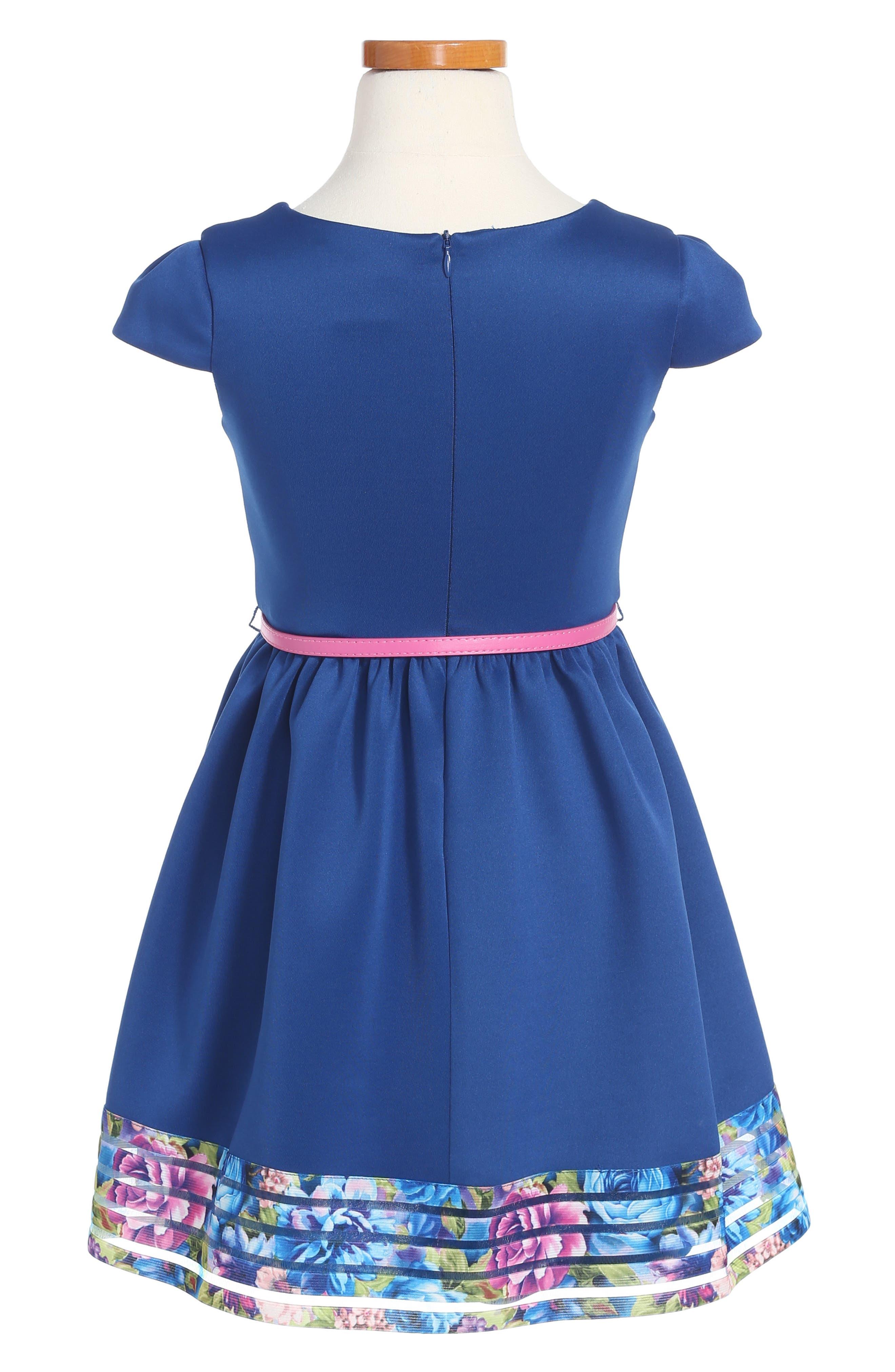 Elastic Stripe Dress,                             Alternate thumbnail 2, color,                             Navy