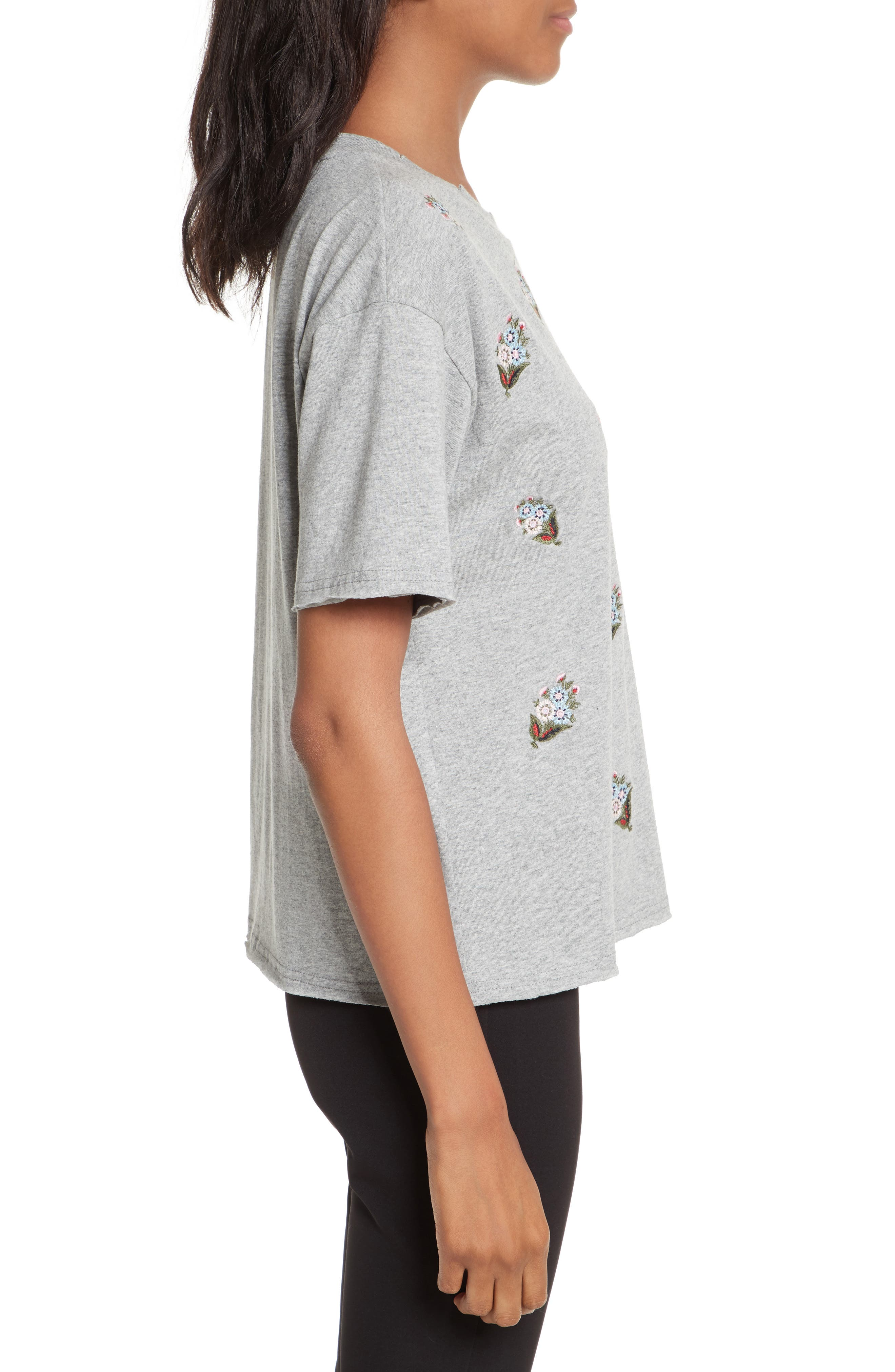 Ronnie Embroidered Tee,                             Alternate thumbnail 3, color,                             Heather Grey