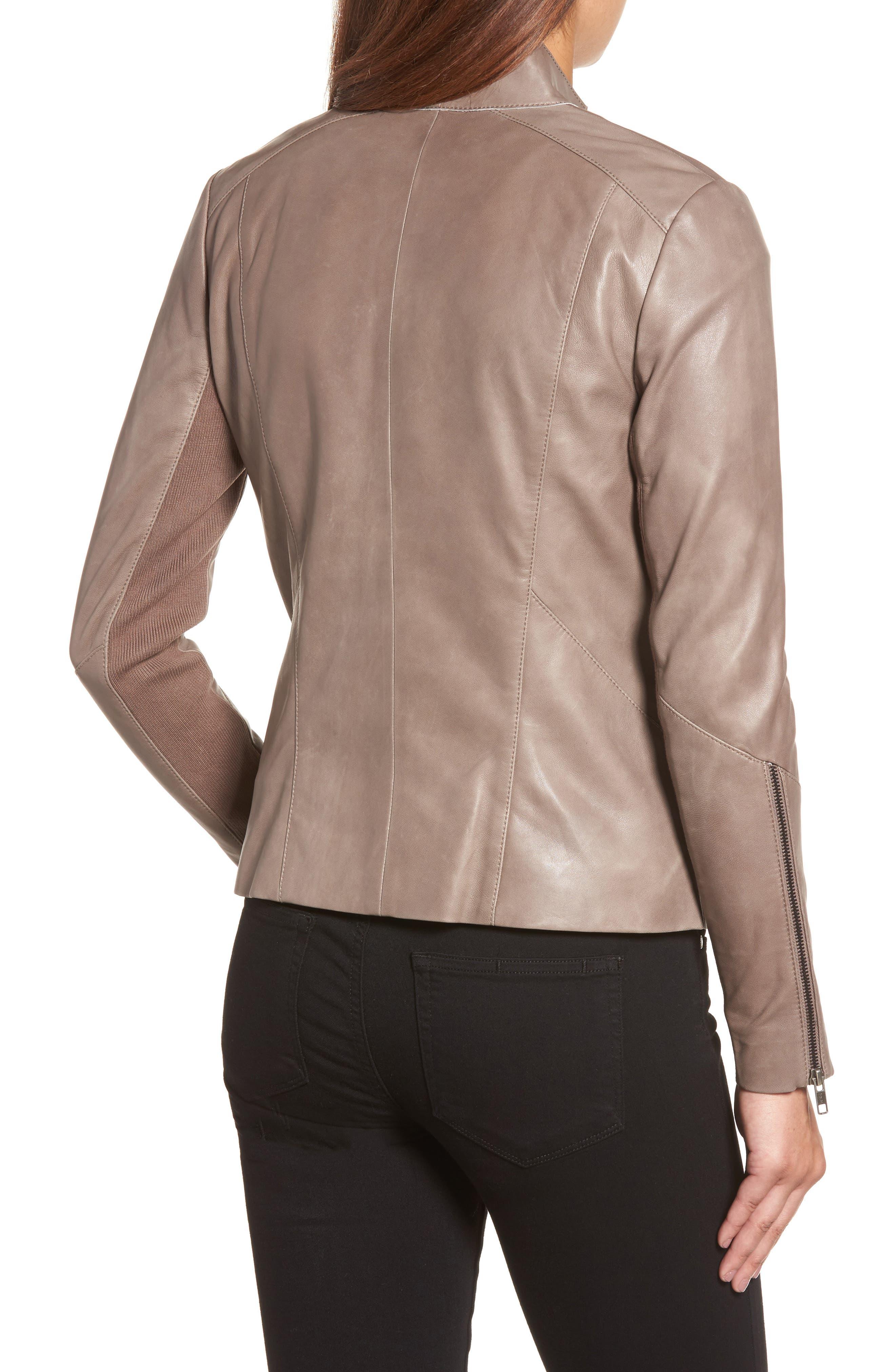 Asymmetrical Leather Jacket,                             Alternate thumbnail 2, color,                             Taupe Dusk