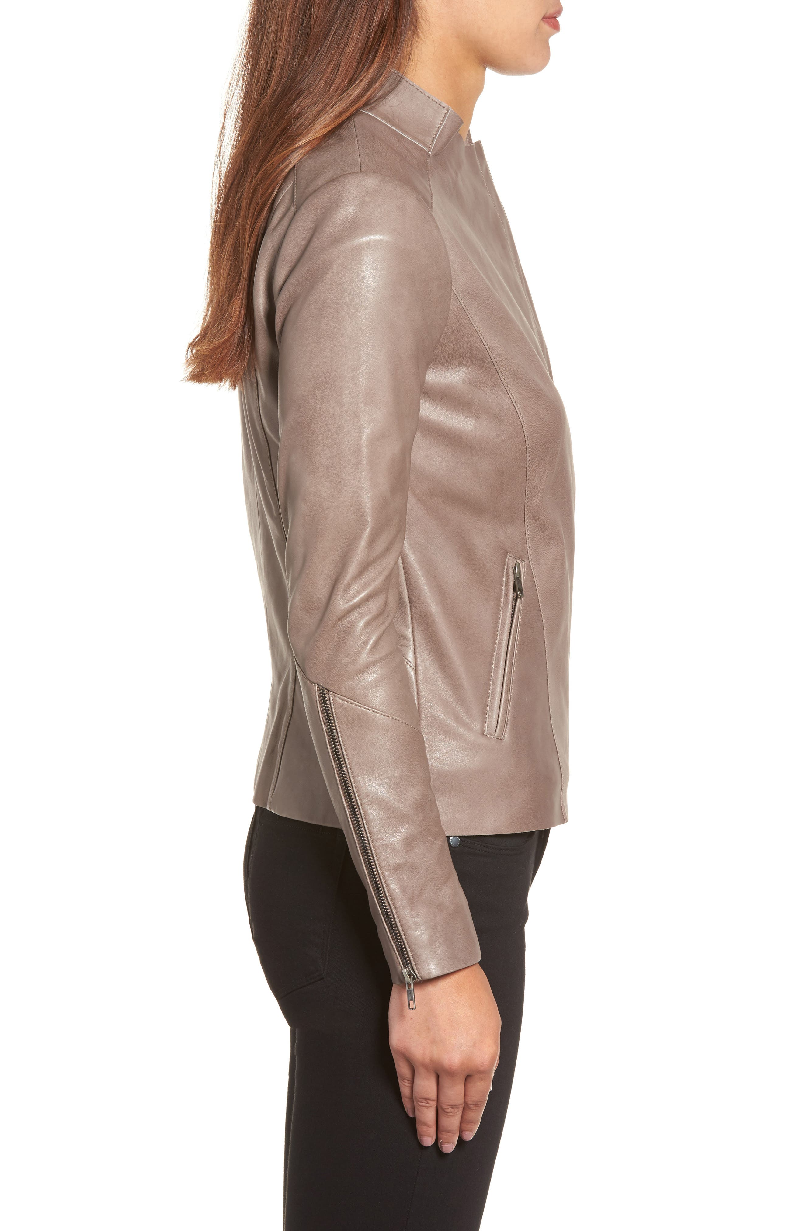 Asymmetrical Leather Jacket,                             Alternate thumbnail 3, color,                             Taupe Dusk
