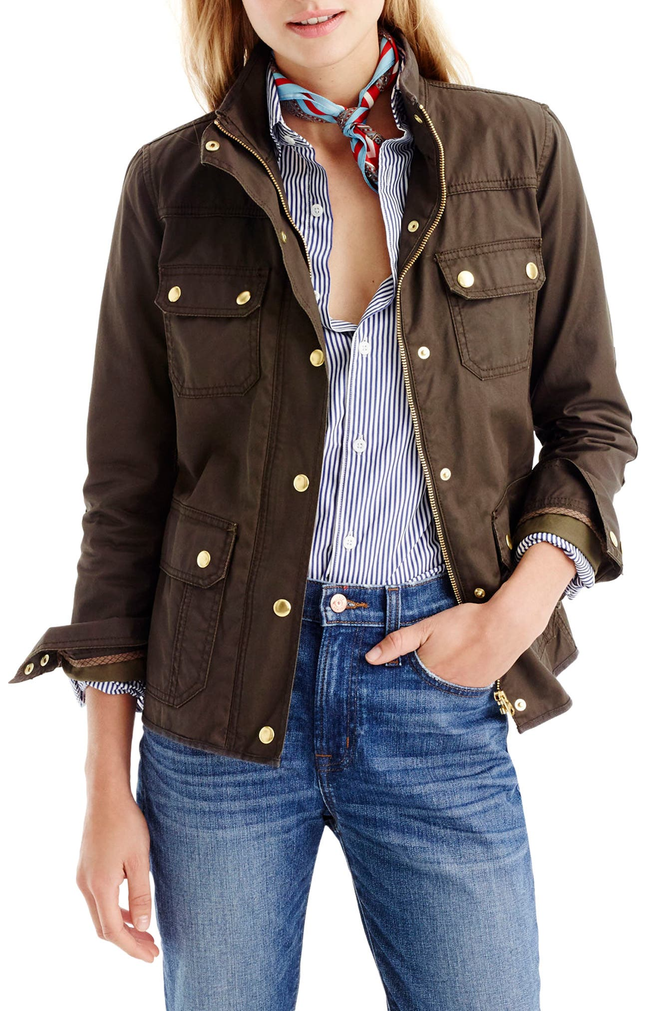 J.Crew Downtown Field Jacket,                             Main thumbnail 1, color,                             Mossy Brown