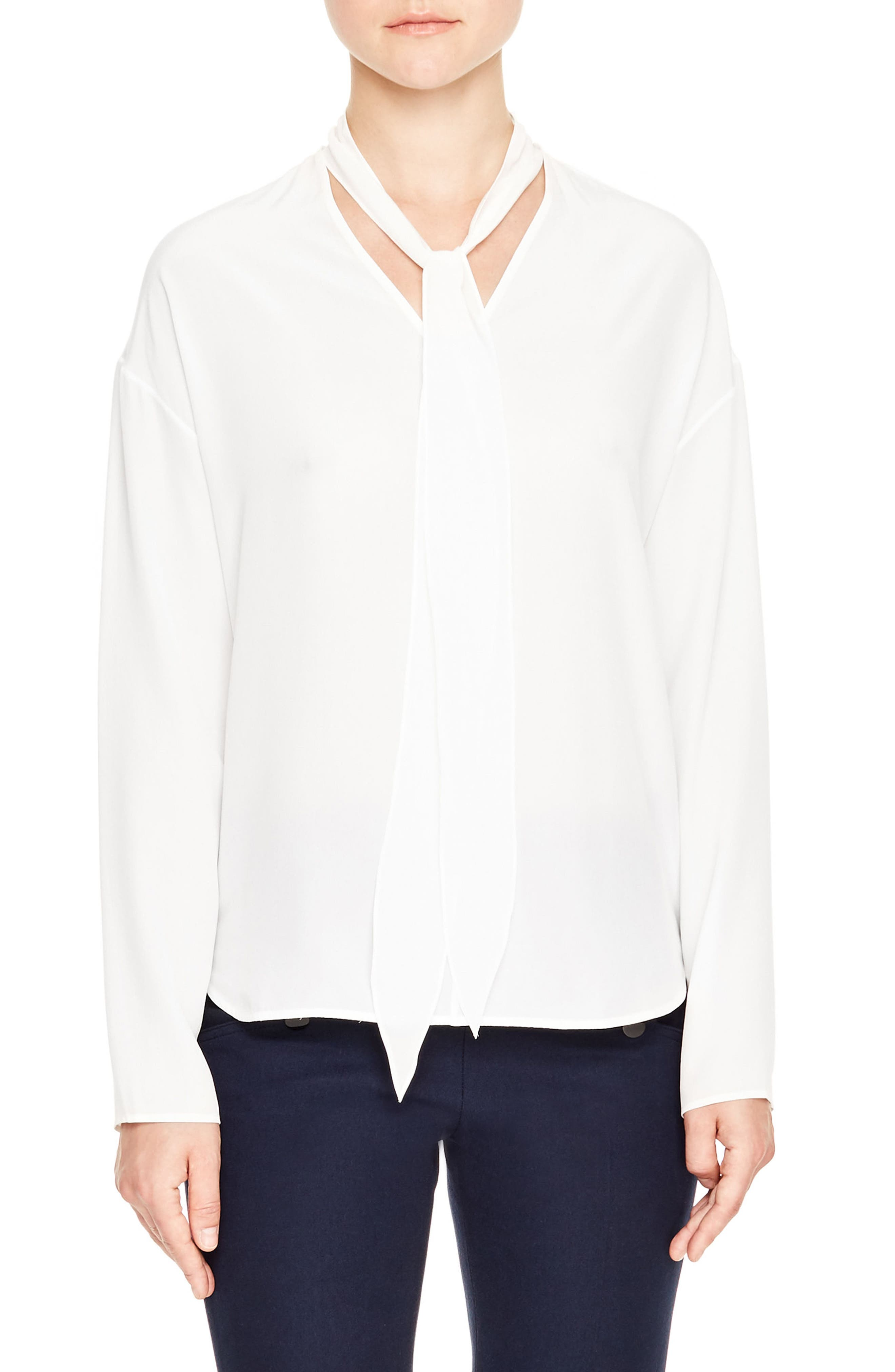 Main Image - sandro Tie Neck Silk Blouse