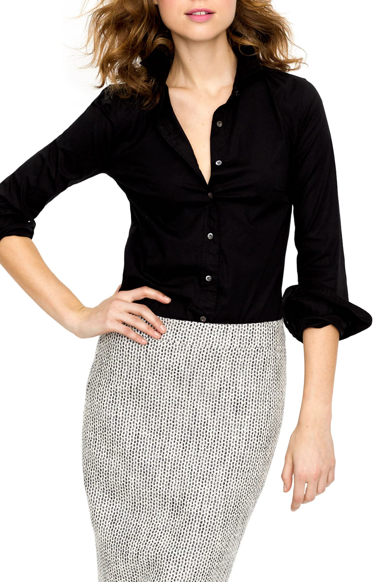 Stretch Perfect Shirt,                         Main,                         color, Black