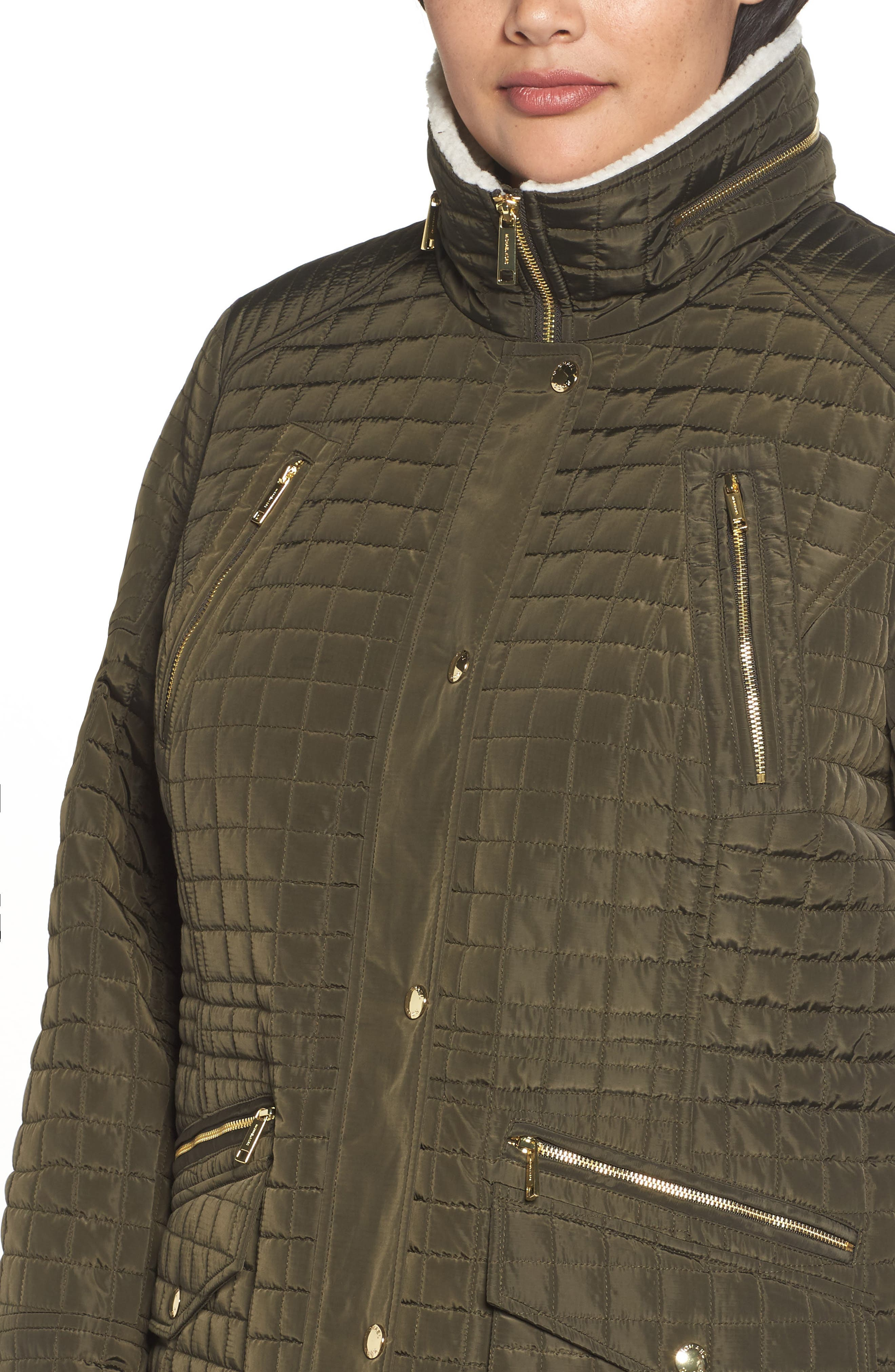 Quilted Jacket with Faux Shearling Trim,                             Alternate thumbnail 4, color,                             Dark Moss