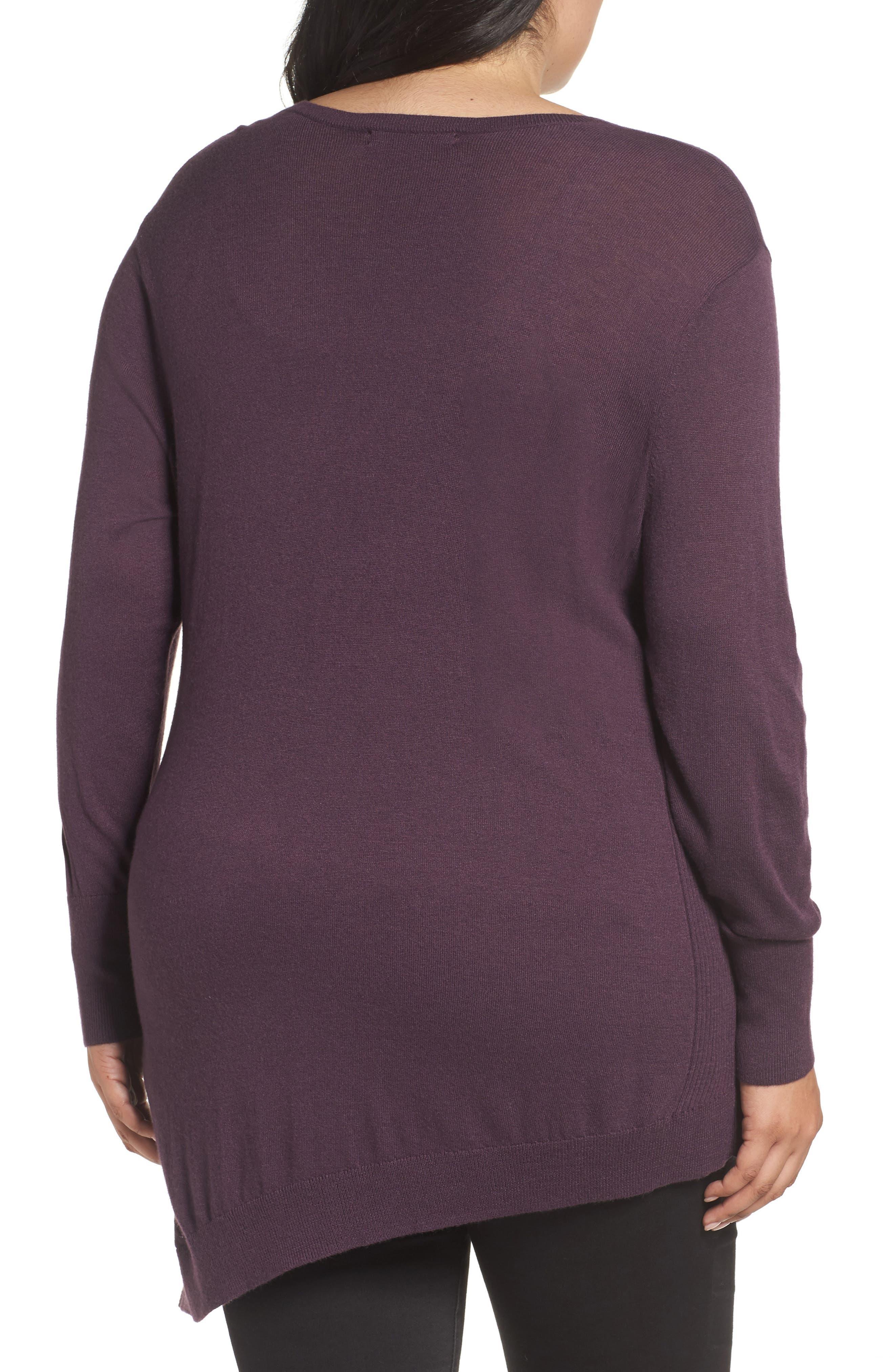 V-Neck Asymmetrical Tunic,                             Alternate thumbnail 2, color,                             Purple Plum